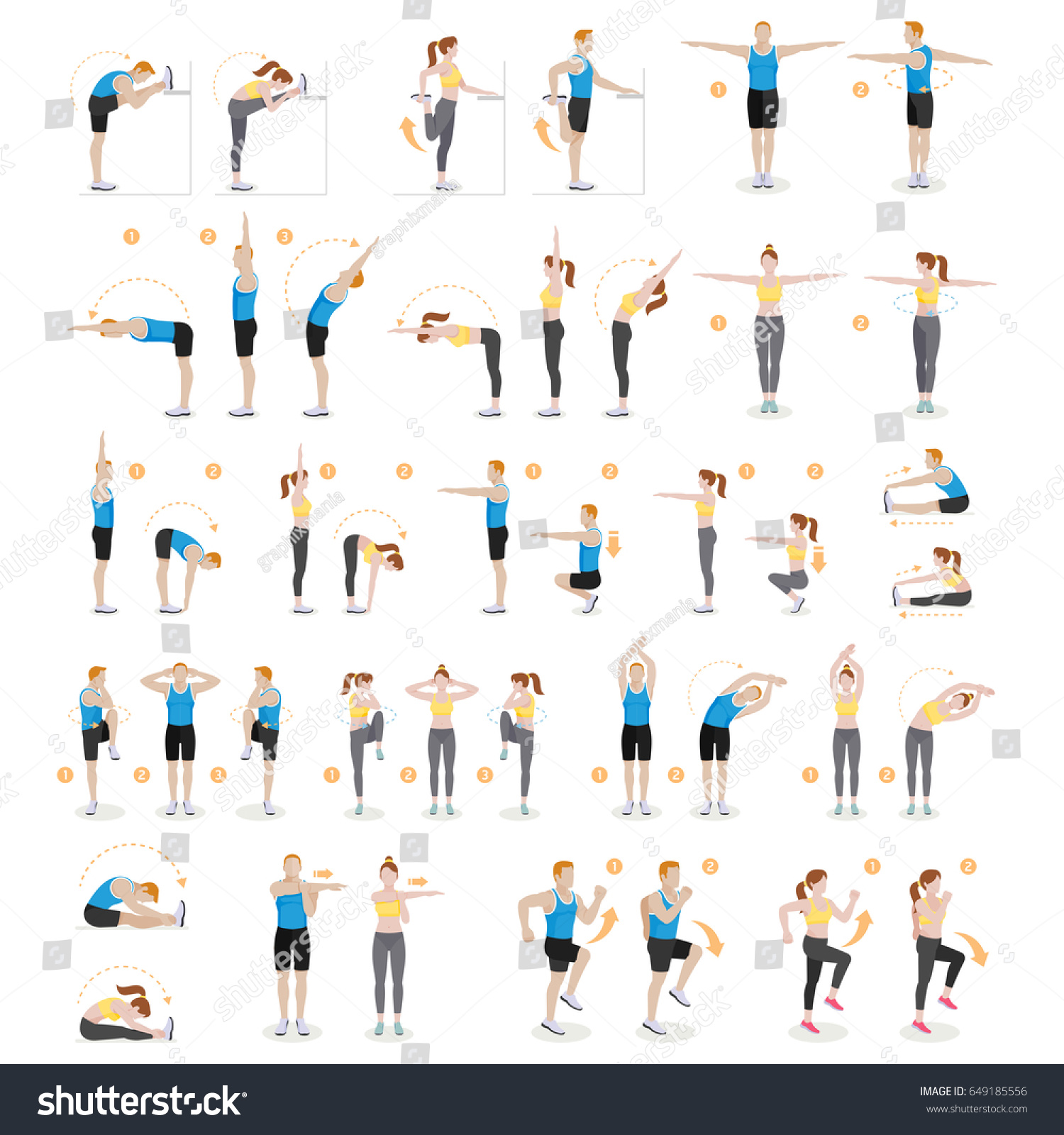 man woman workout fitness aerobic exercises stock vector royalty