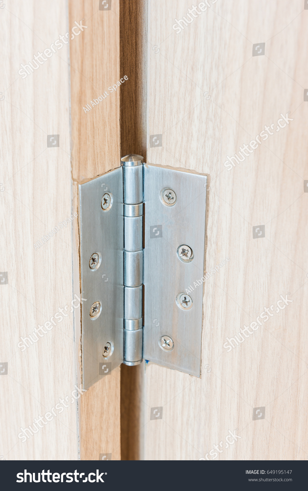 Stainless Door Hinges On Wooden Swing Stock Photo Edit Now