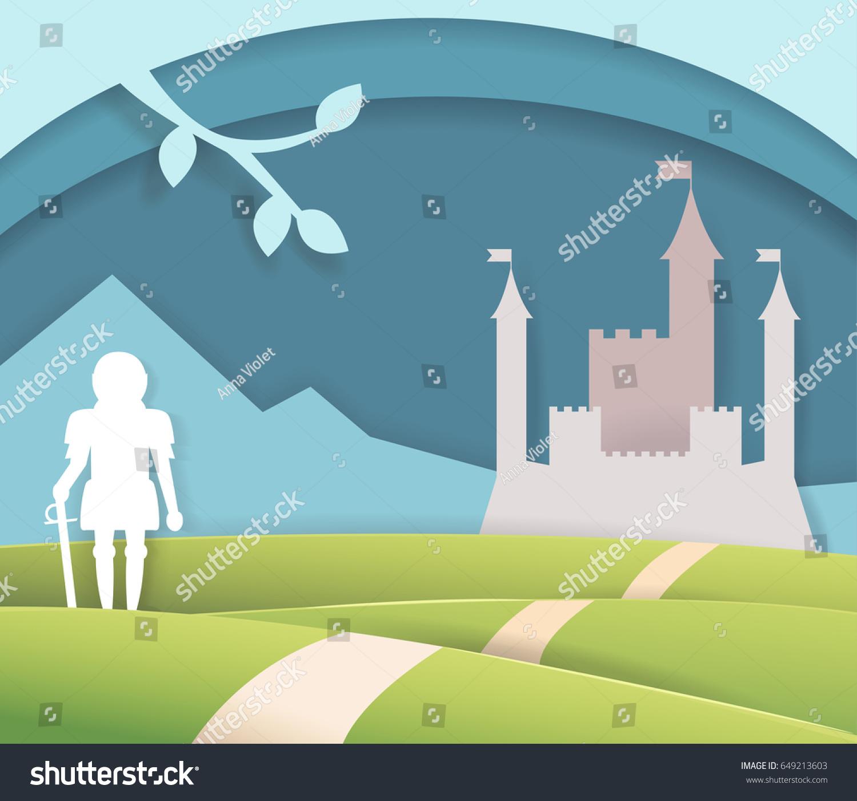 Fairytale Paper Castle Isolated Art Vector Stock Vector Royalty