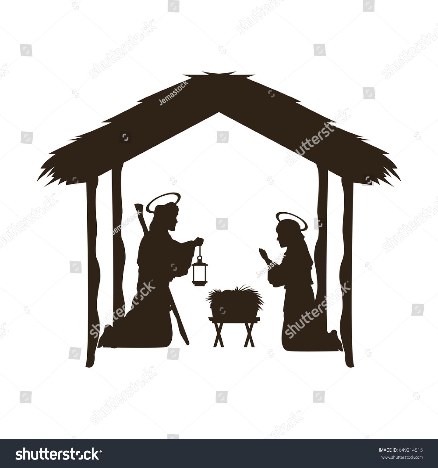 Christmas Christian Scene Baby Jesus Manger Stock-Vektorgrafik ...