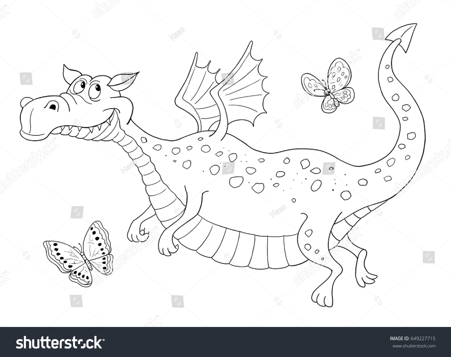 Royalty Free Stock Illustration of Cute Dragon Flying Butterflies ...