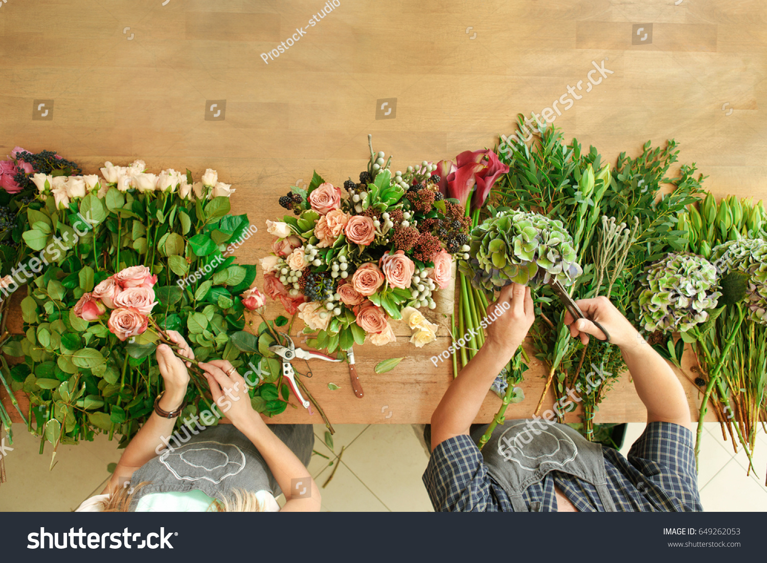 Small Business Flowers Delivery Top View Stock Photo Edit Now