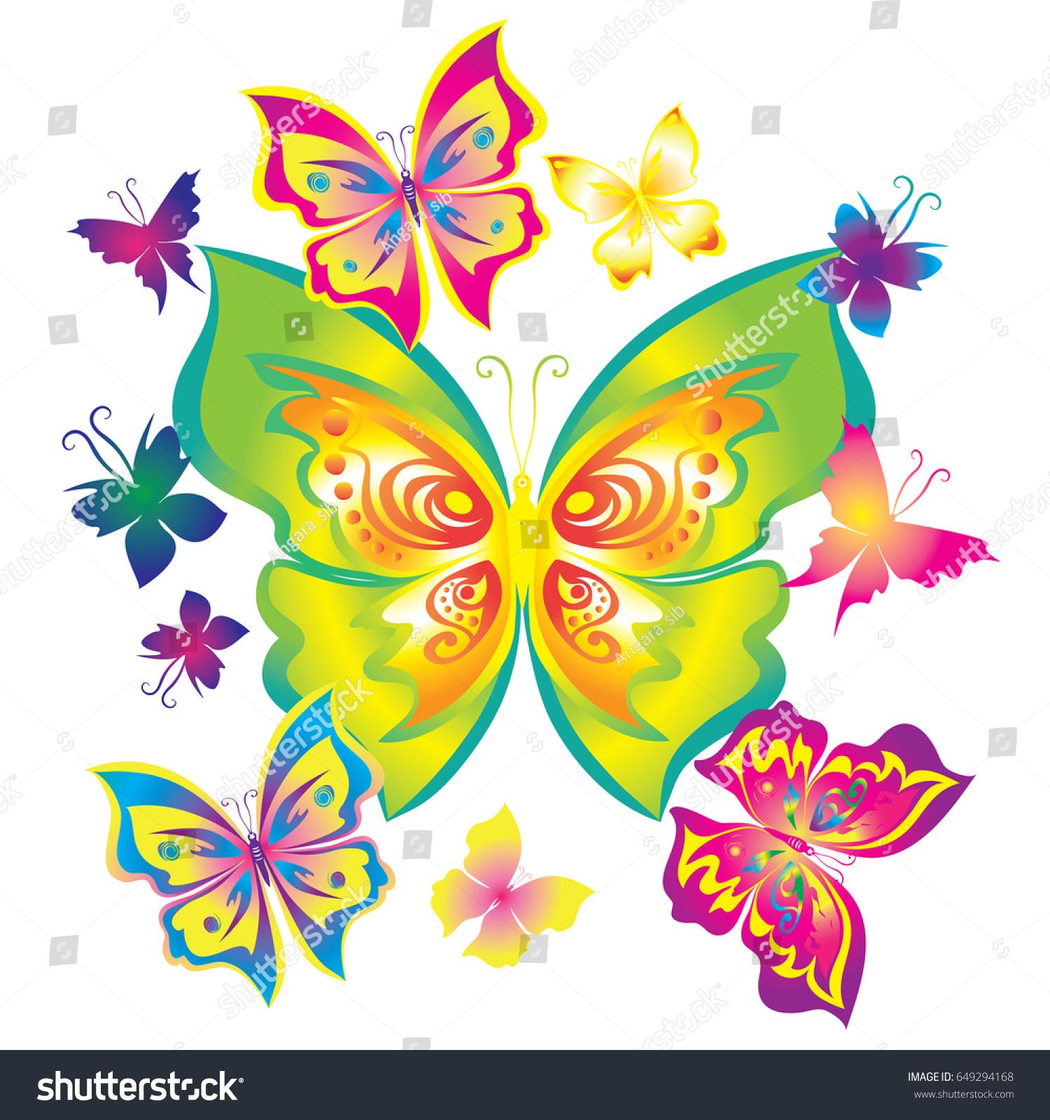 Silhouette Butterfly Gradient Vector Decoration Butterflies Stock ...