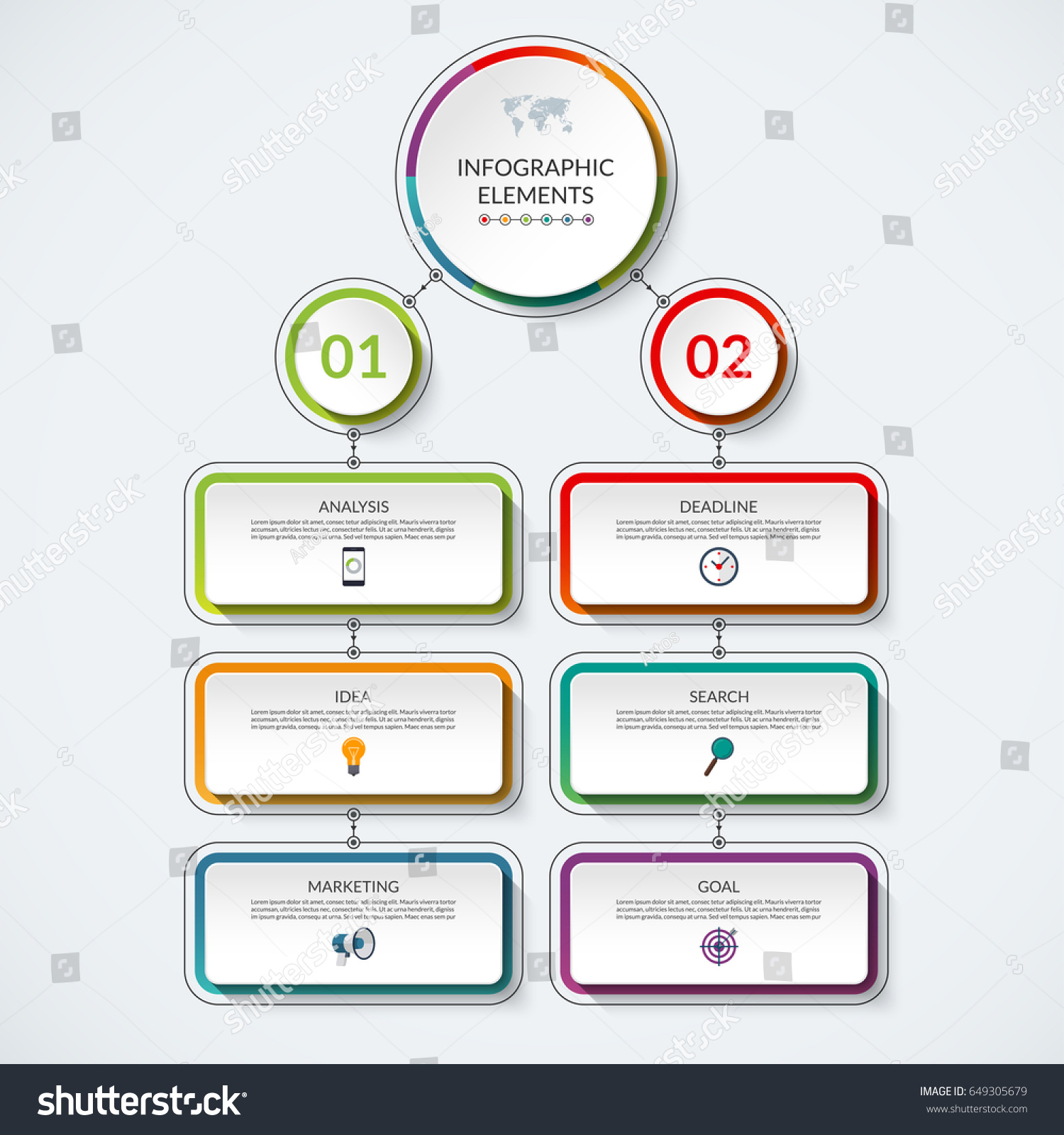 Infographic Flow Chart Template 2 Option Stock Vector