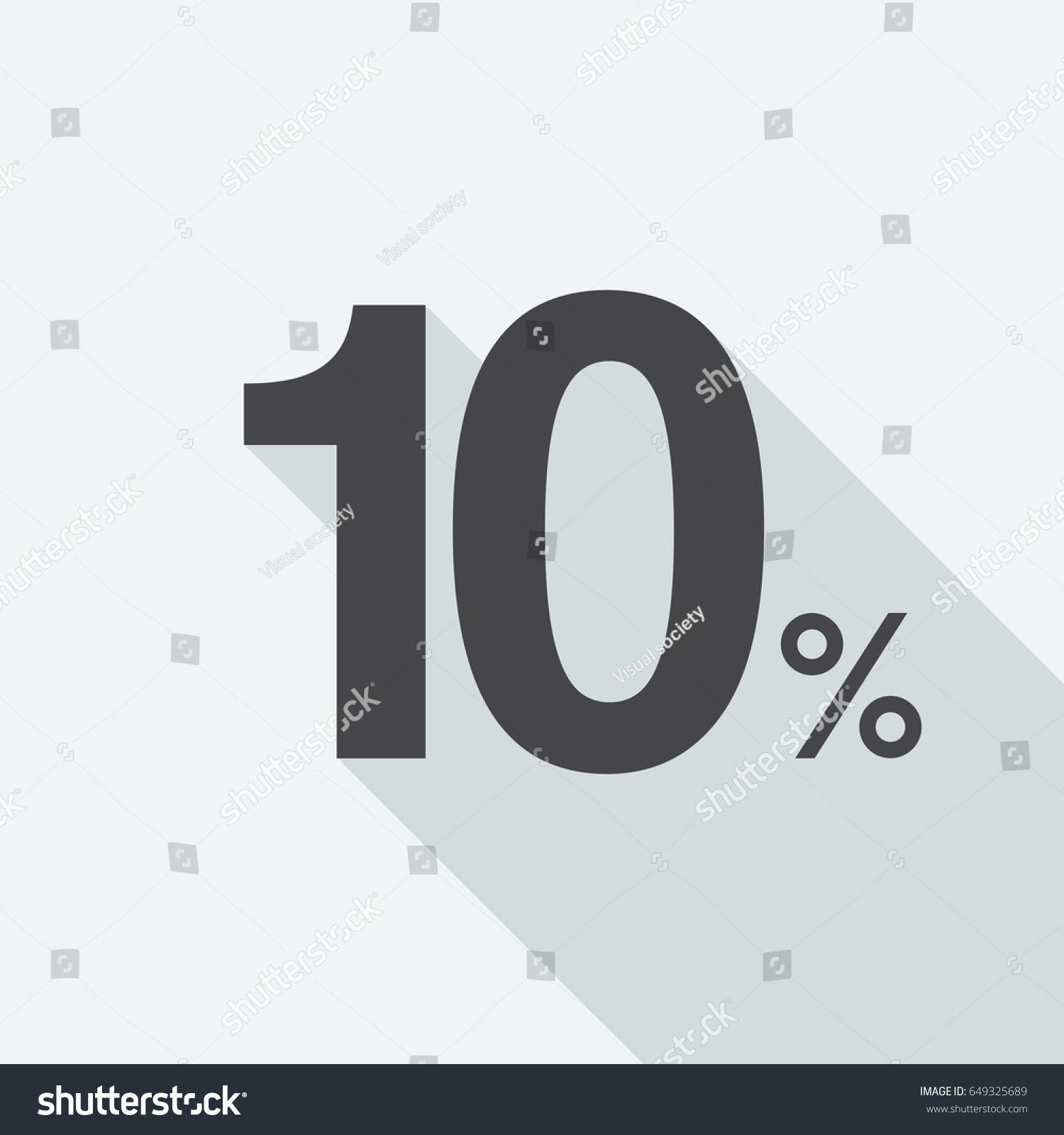 10 Ten Percent Long Shadow On Stock Vector 649325689 Shutterstock