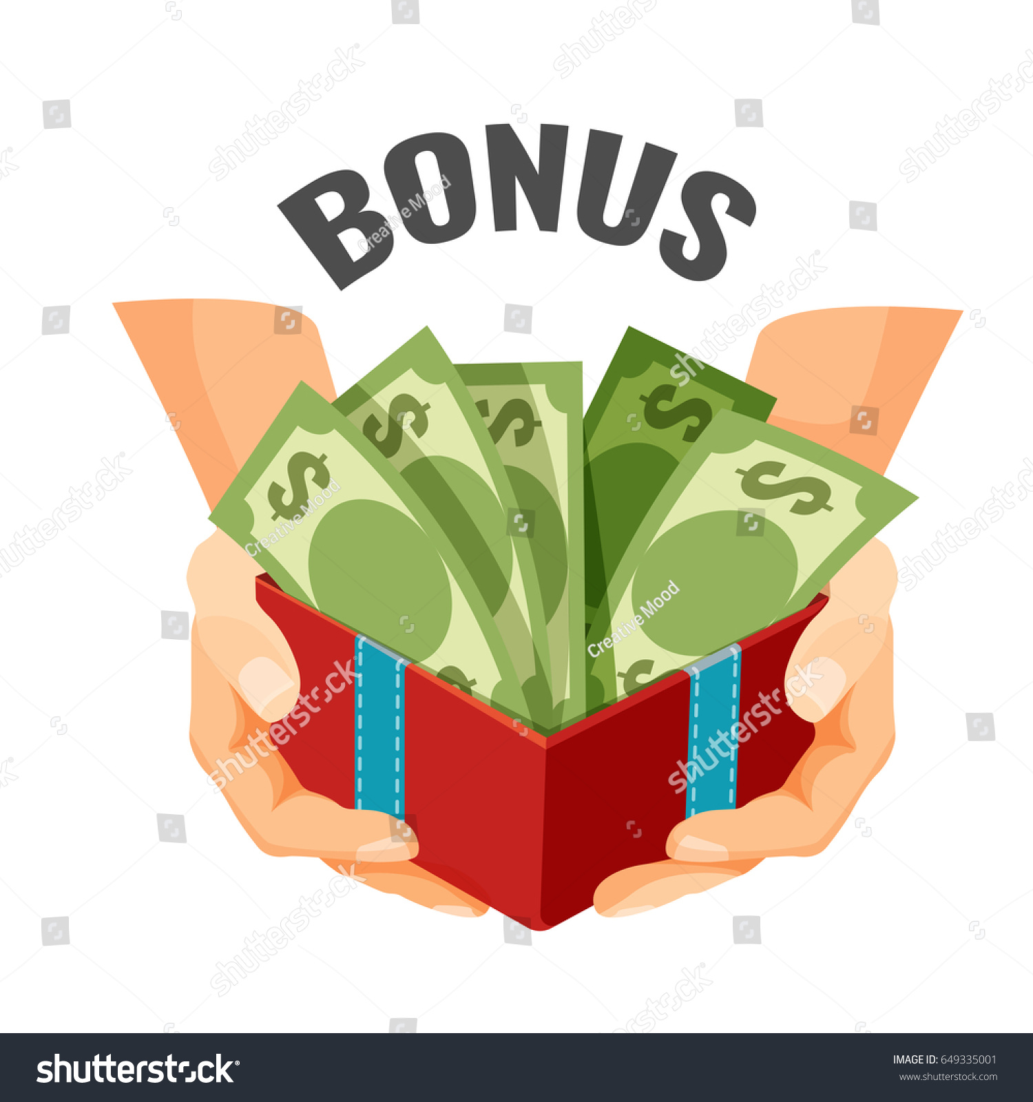 open present clipart. giving money in open present box with dollar banknotes bonus clipart i