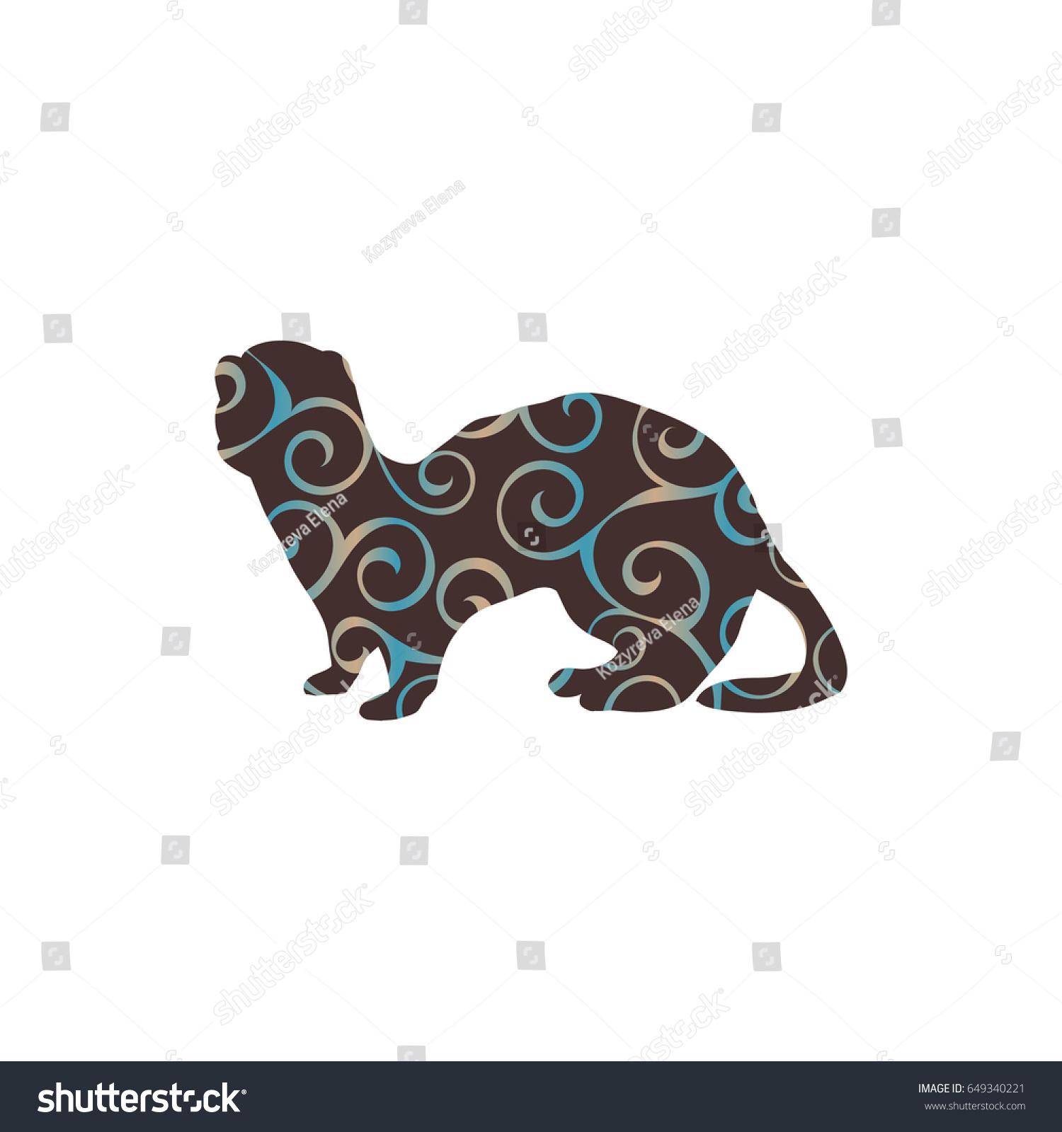 Ferret Weasel Ermine Mammal Color Silhouette Stock Vector