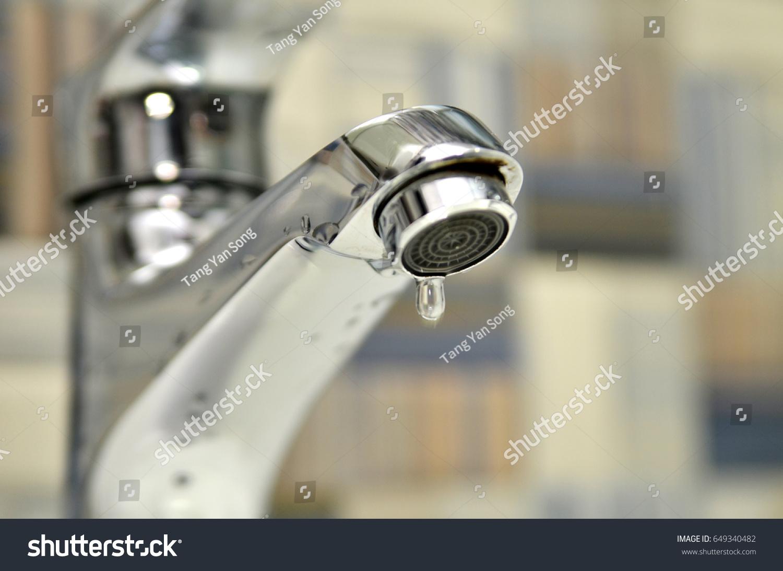 Bathroom Tap Leaking Water Drops Saving Stock Photo (Royalty Free ...