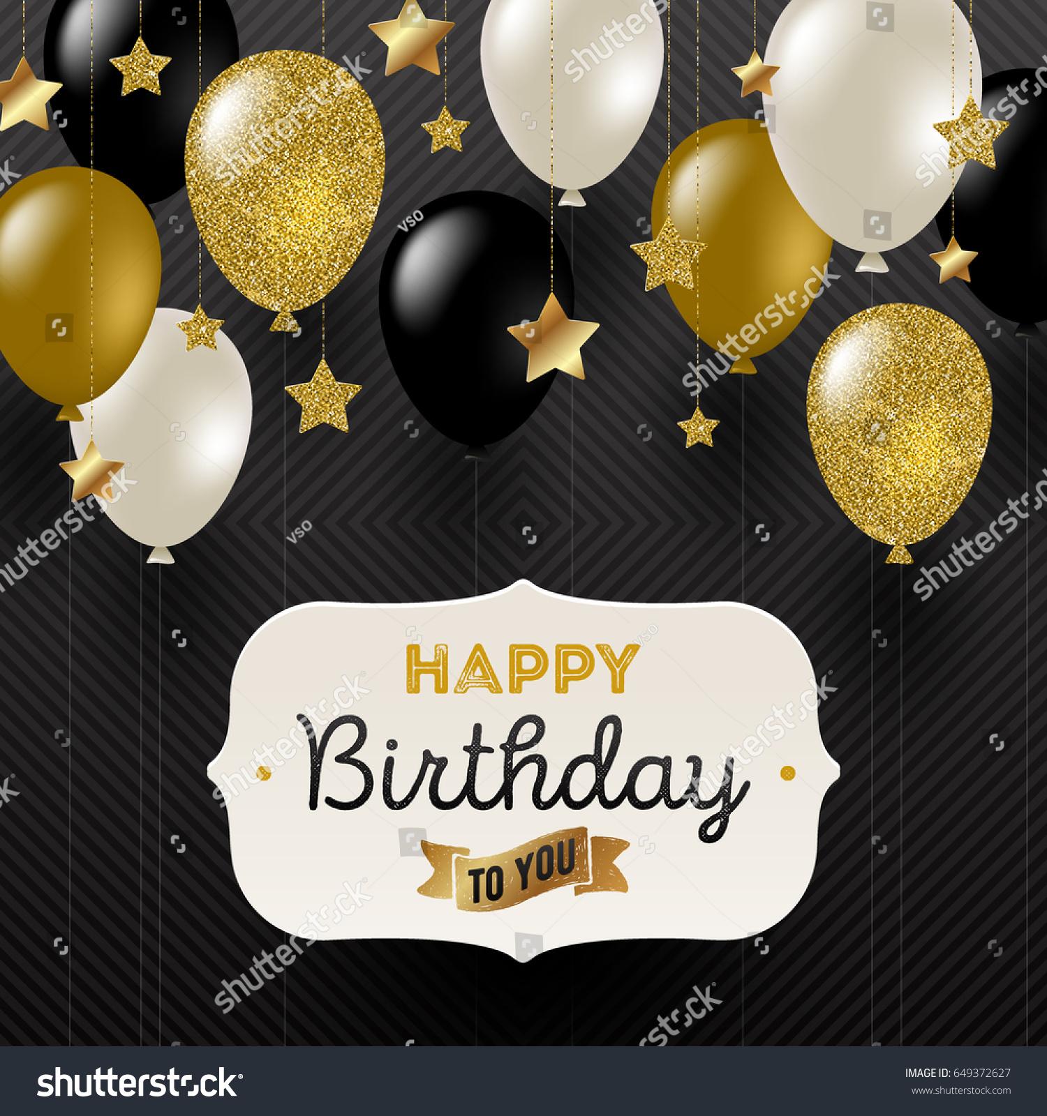 Vector Illustration Frame Birthday Greeting Golden Stock Vector