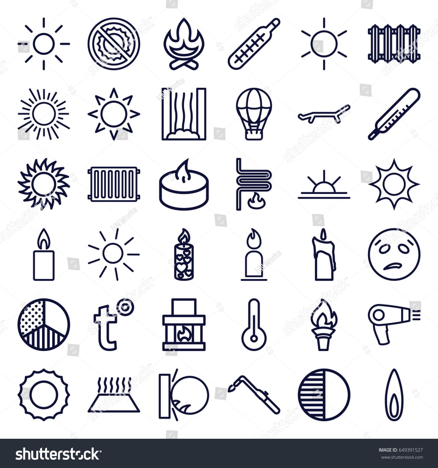 Heat icons set set 36 heat stock vector 649391527 shutterstock heat icons set set of 36 heat outline icons such as sun thermometer biocorpaavc Choice Image