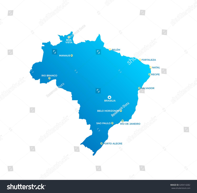 Brazil Cities Map Stock Vector (Royalty Free) 649414282 - Shutterstock