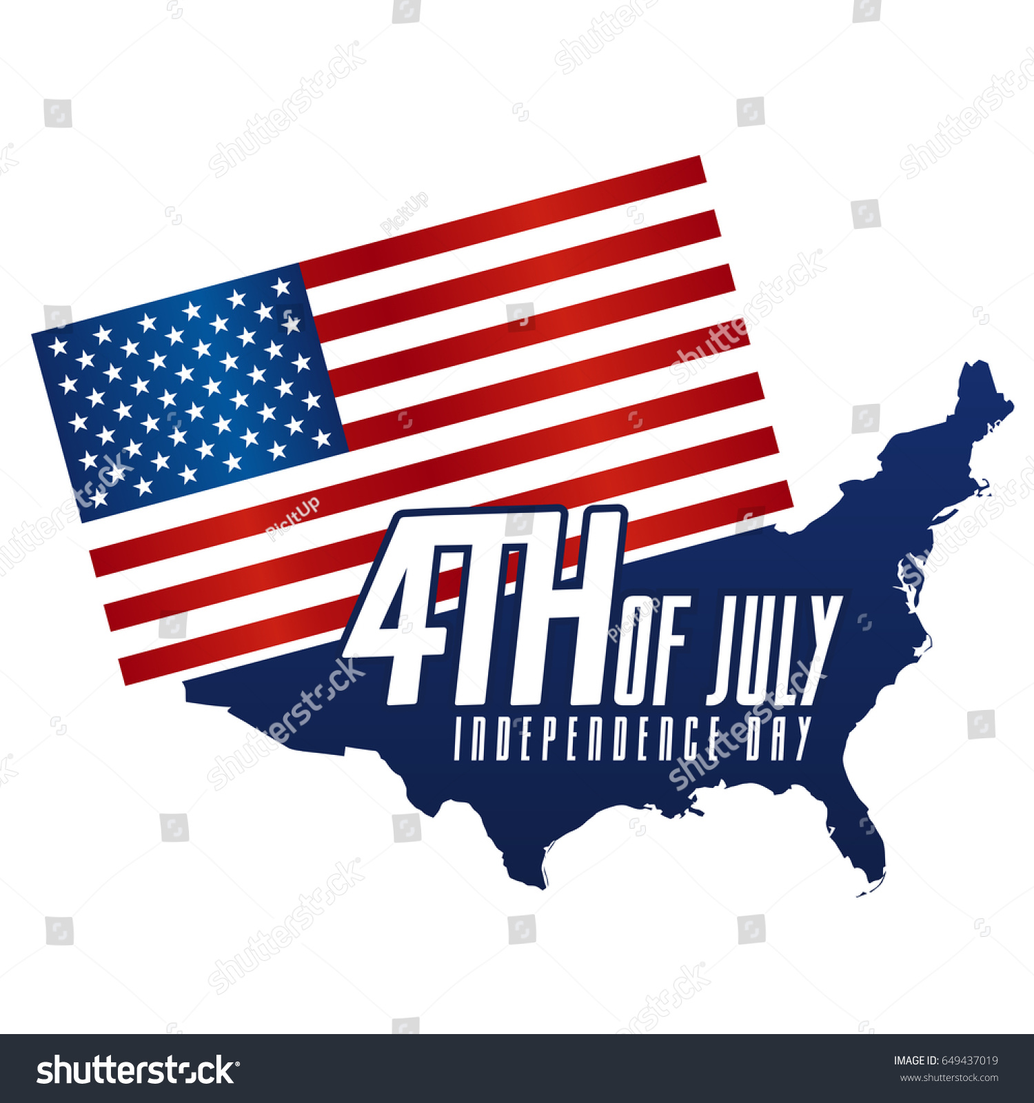 Independence Day 4 Th July United Stock Vector 649437019