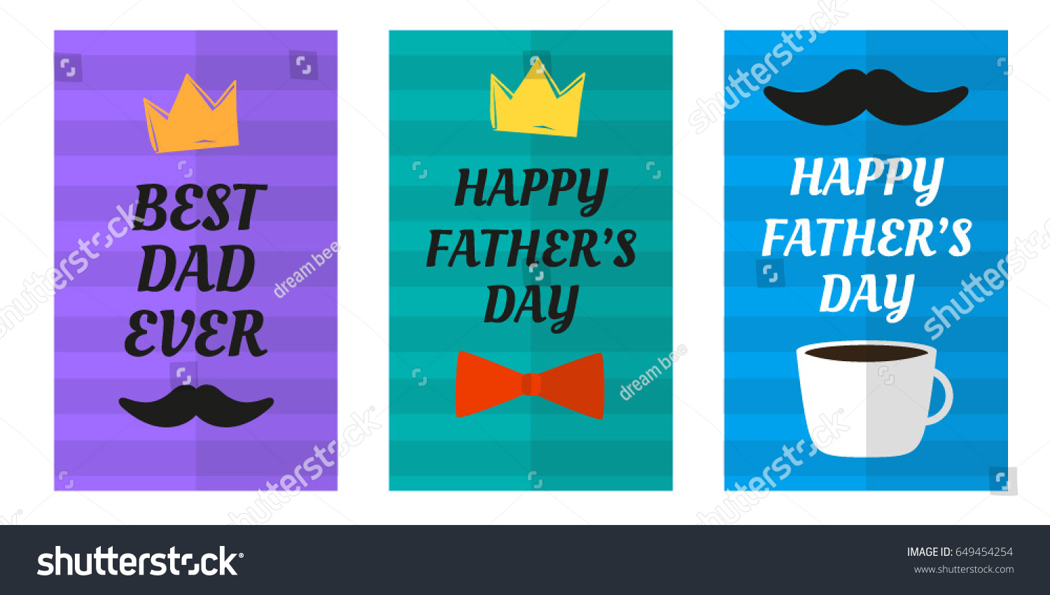 Happy Fathers Day Greeting Cart Postcatrd Stock Vector 649454254