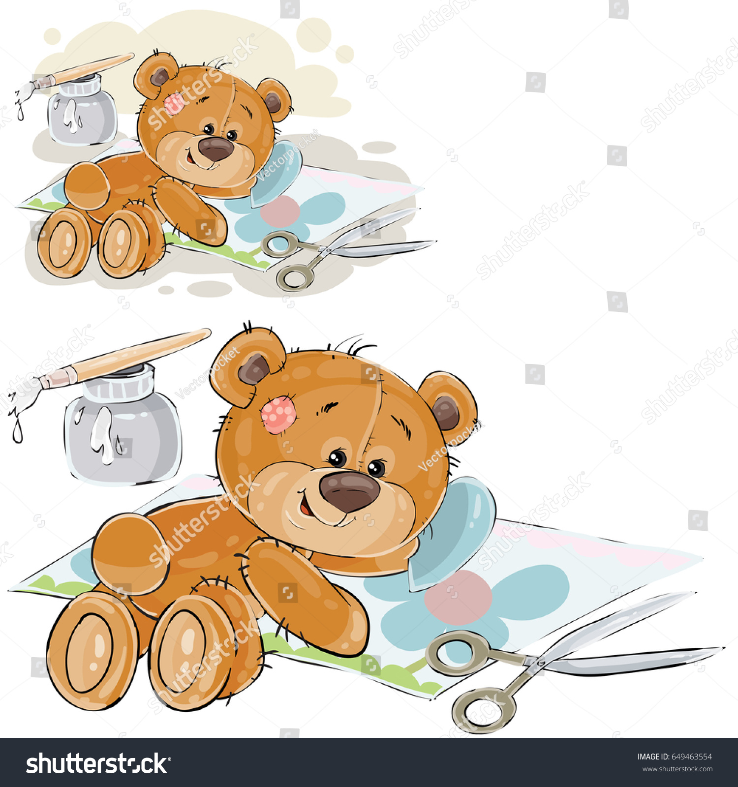 Vector Illustration Brown Teddy Bear Glues Stock Vector 649463554 ...
