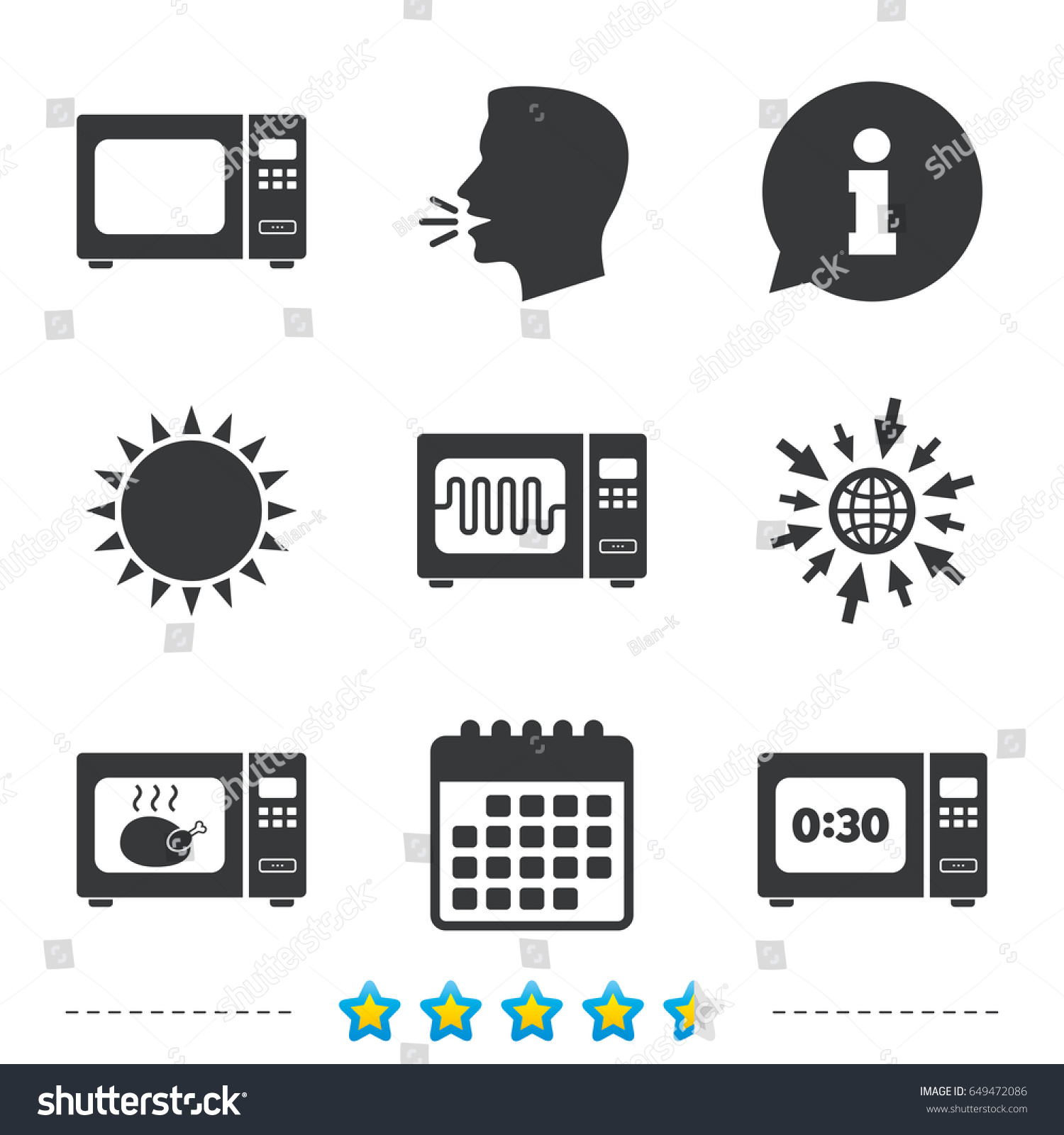Microwave Oven Icons Cook Electric Stove Stock Vector Royalty Free