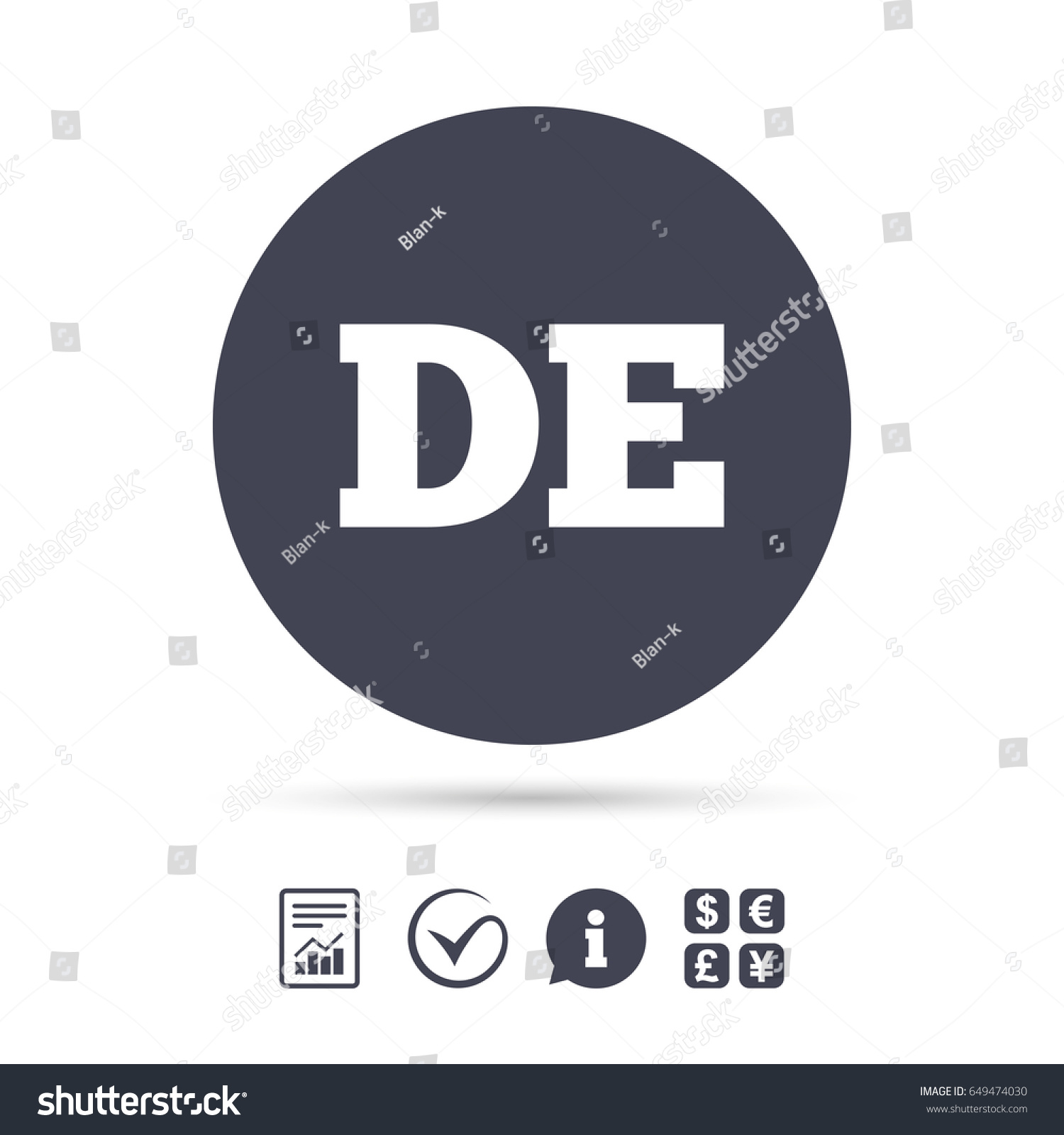 German Language Sign Icon De Deutschland Stock Vector Royalty Free