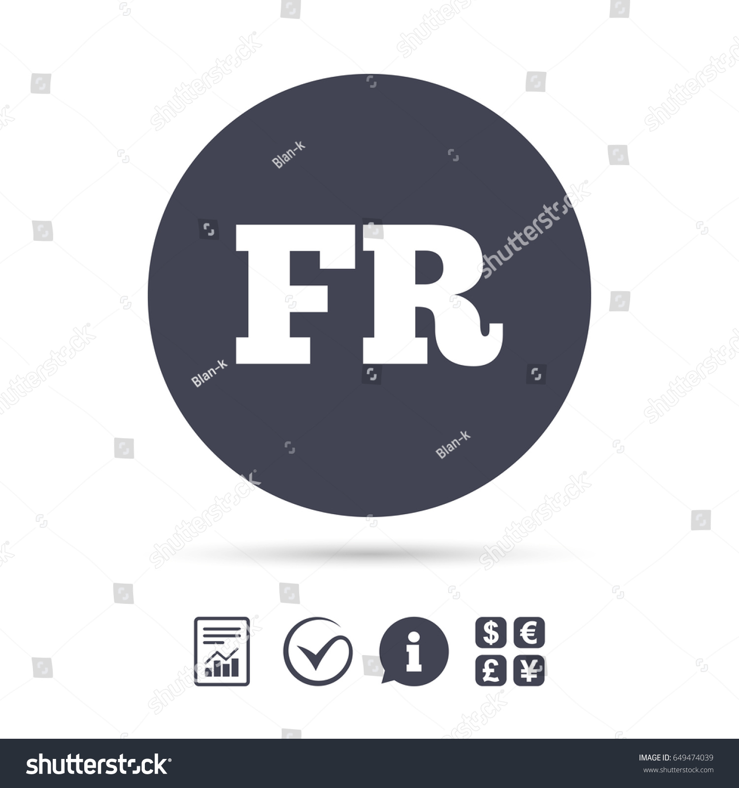 French Language Sign Icon Fr France Stock Photo Photo Vector