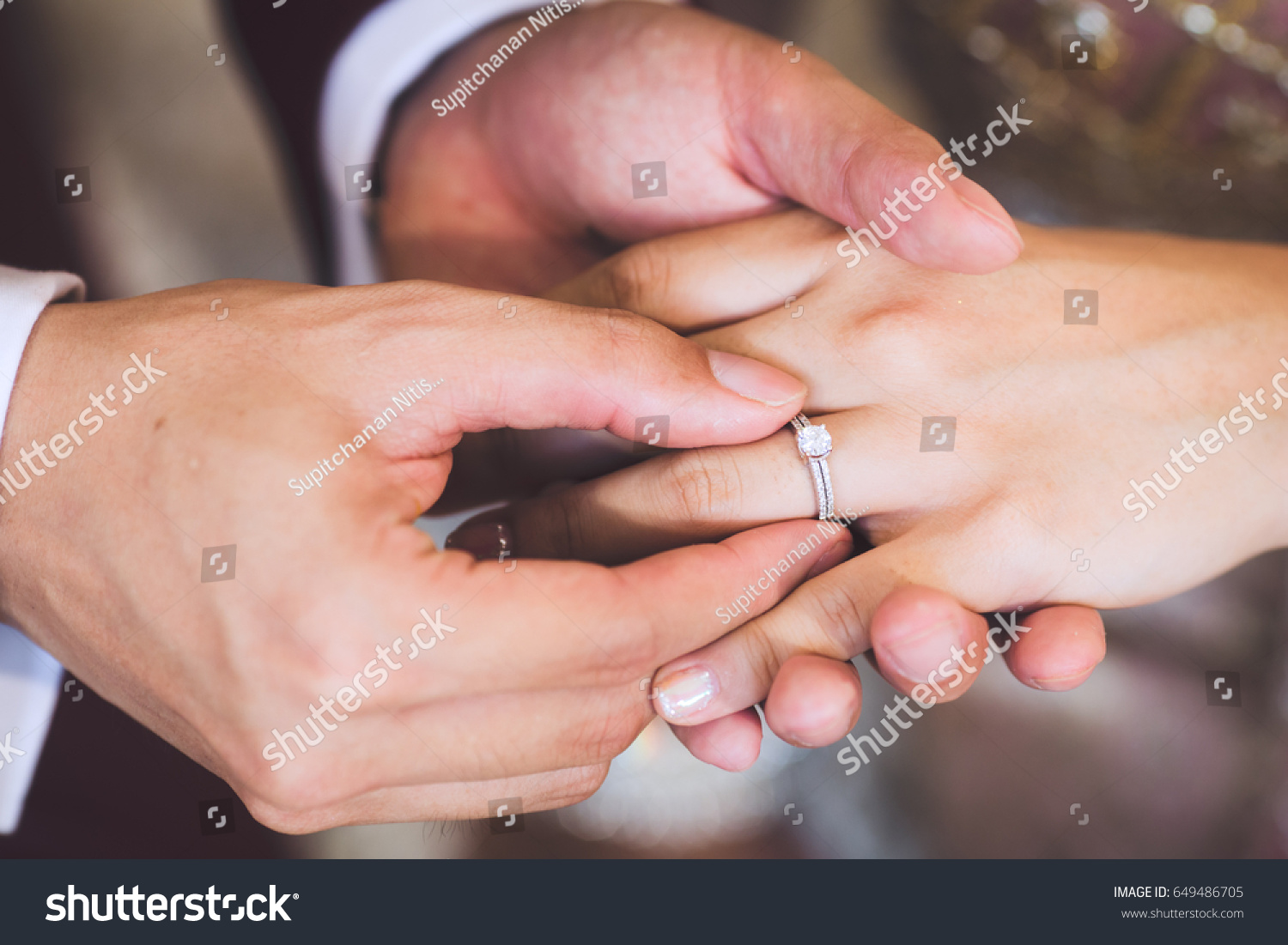 Couples Hands Wedding Rings Bride Groom Hands Stock Photo (Edit Now ...