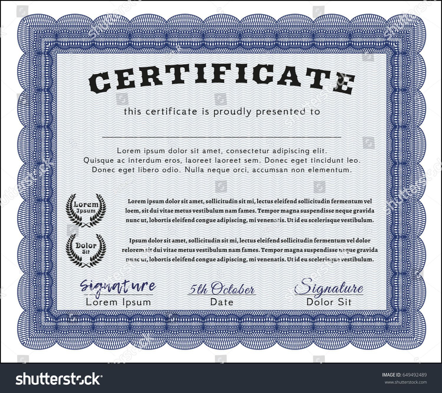 Blue certificate template guilloche pattern background stock blue certificate template with guilloche pattern and background detailed money pattern xflitez Images