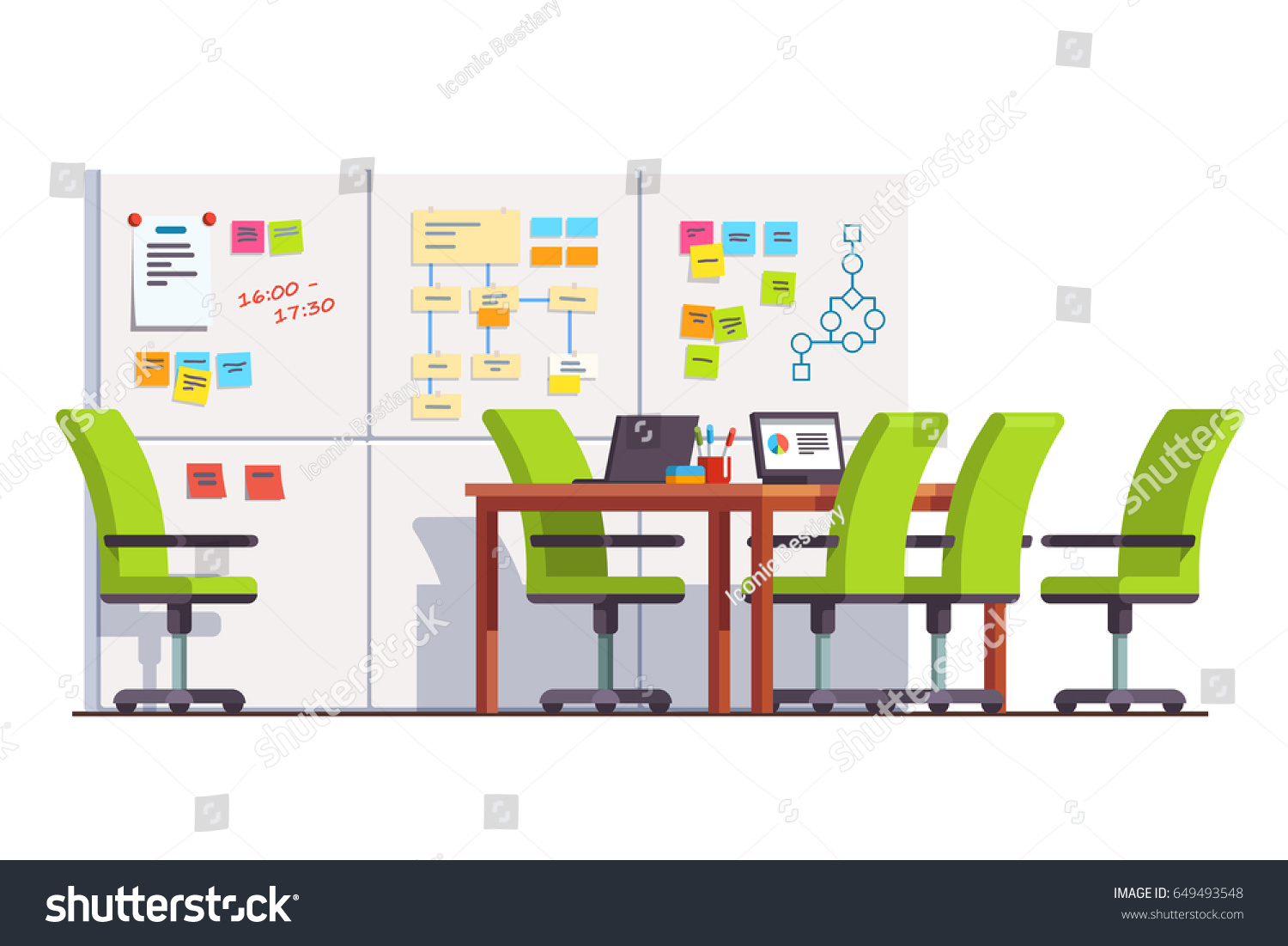 Development Company Boardroom Interior Scrum Wall Stock Vector - Conference room table and chairs clip art