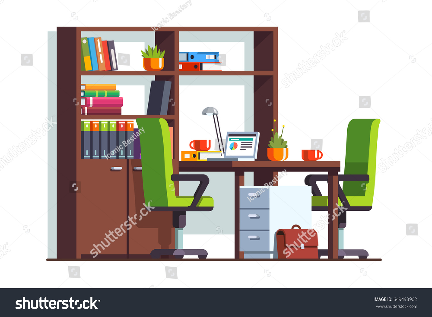 Accountant Or Lawyer Office Room Interior Design With Desk Laptop Computer Two Chairs And
