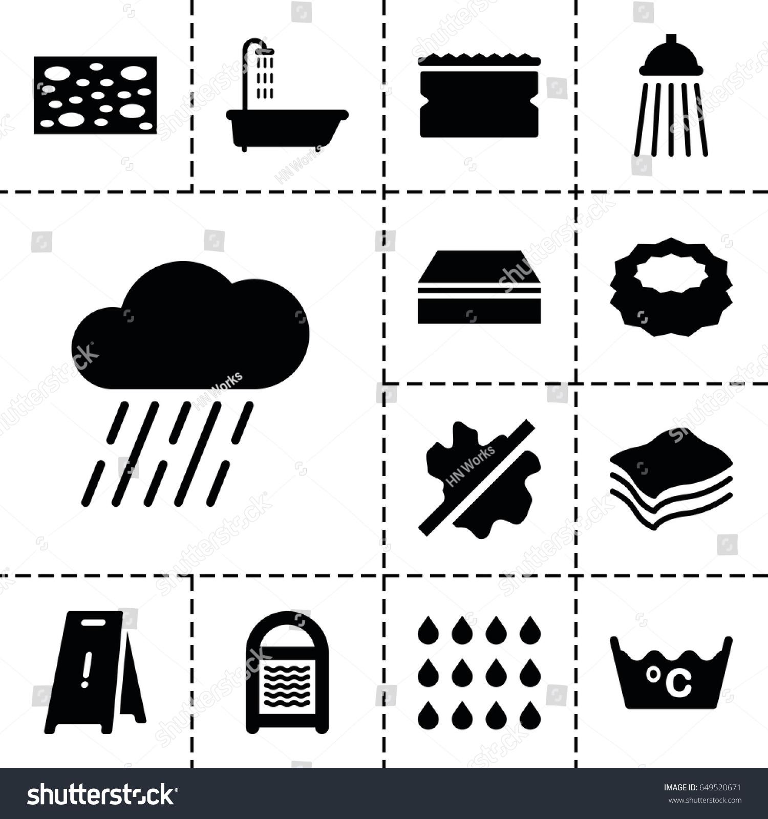 Wet icon set 13 filled wet stock vector 649520671 shutterstock wet icon set of 13 filled wet icons such as shower sponge no biocorpaavc