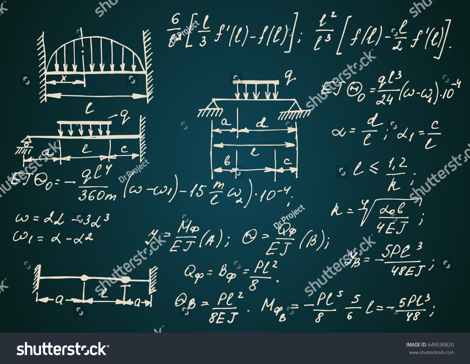 Vintage Physical Notation Equations Figures Schemes Stock Vector Circuit Diagram On Electronic Symbols With The Plots And Other Calculations