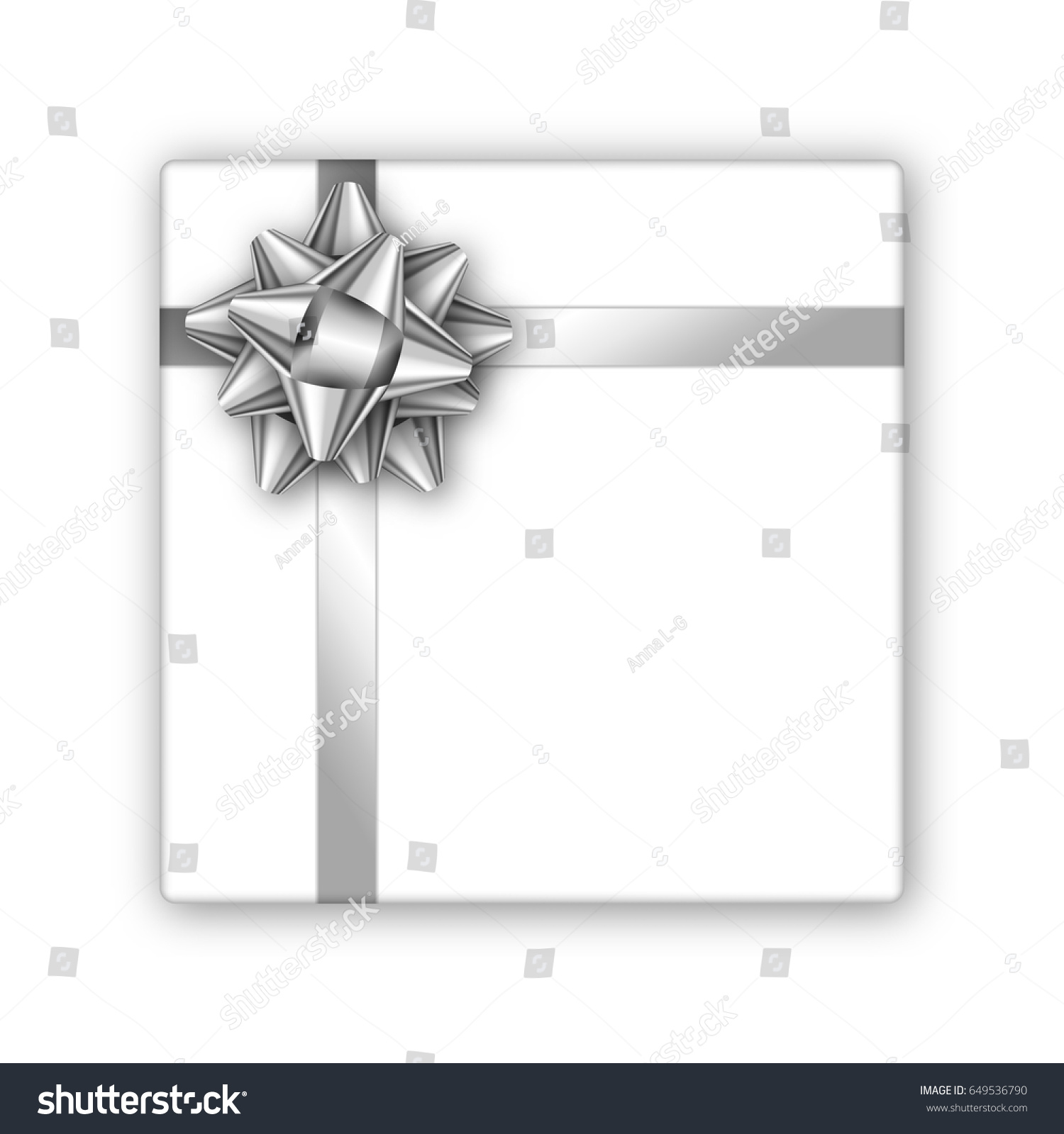 Holiday gift box silver ribbon bow stock vector 649536790 holiday gift box with silver ribbon and bow template for a business card banner magicingreecefo Images