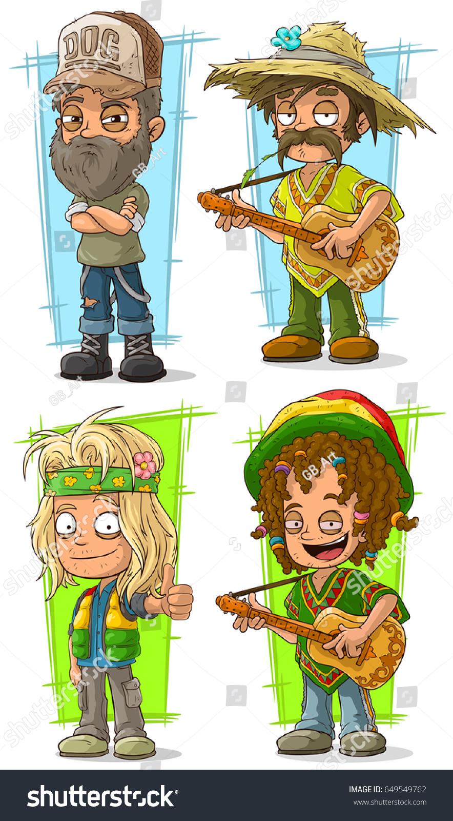 Cartoon Funny Redneck Farmer Hippie Guitar Stock Vector Royalty Free 649549762