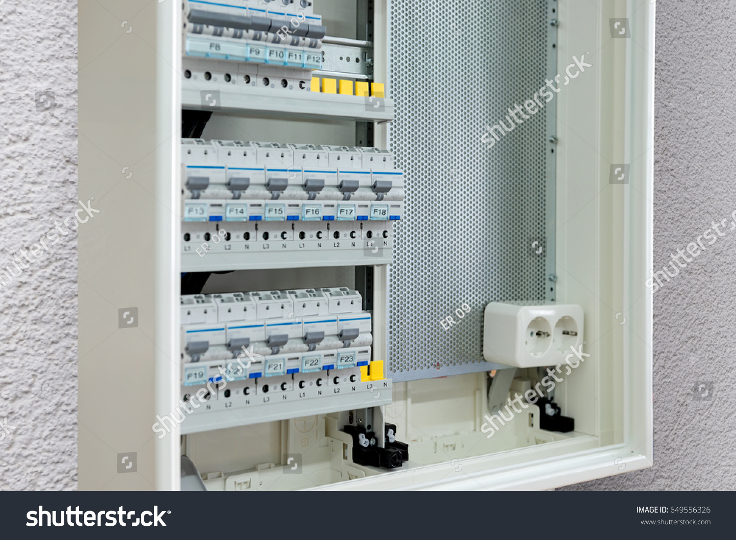 Electricity Distribution Box Hanging On Wall Stock Photo Edit Now Home Wiring The