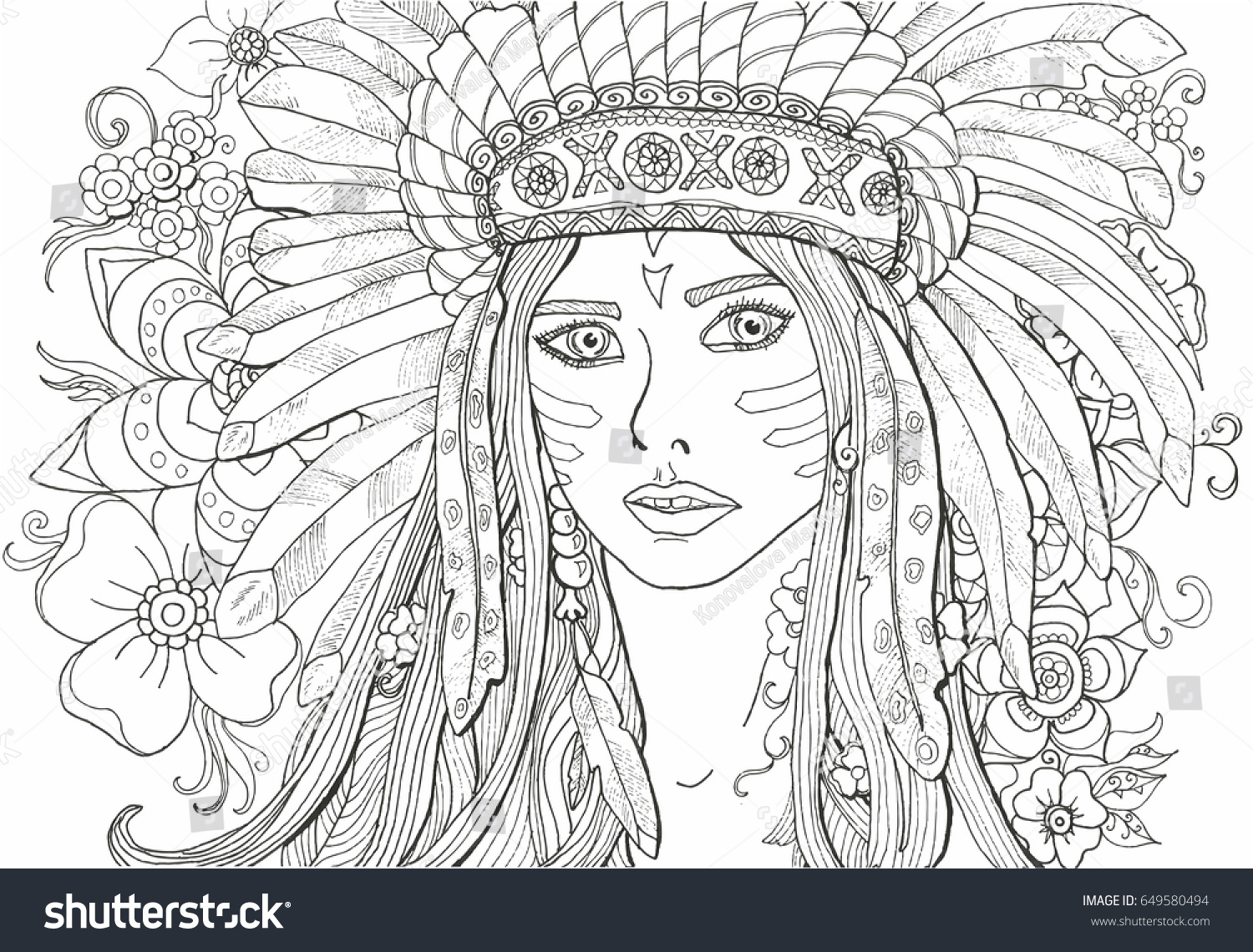 coloring pages for adults girl indian with decoration of feathers - Girl Indian Coloring Pages