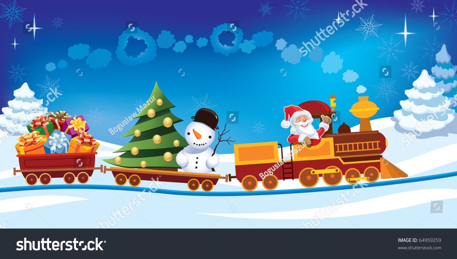 Santa Claus Toy Train Gifts Snowman Stock Vector 64959259