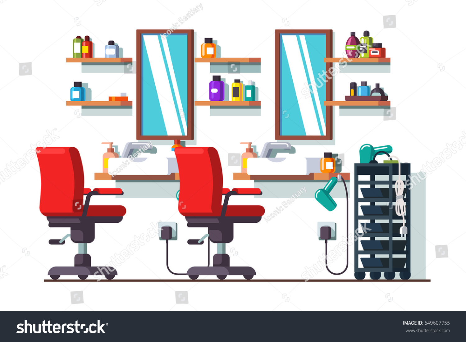 Hair salon chair isolated stock photos illustrations and vector art -  Vectors Illustrations Footage Music Woman Beauty Hairdressing Salon Interior Design With Chairs Mirrors Shelves And Sinks Barber