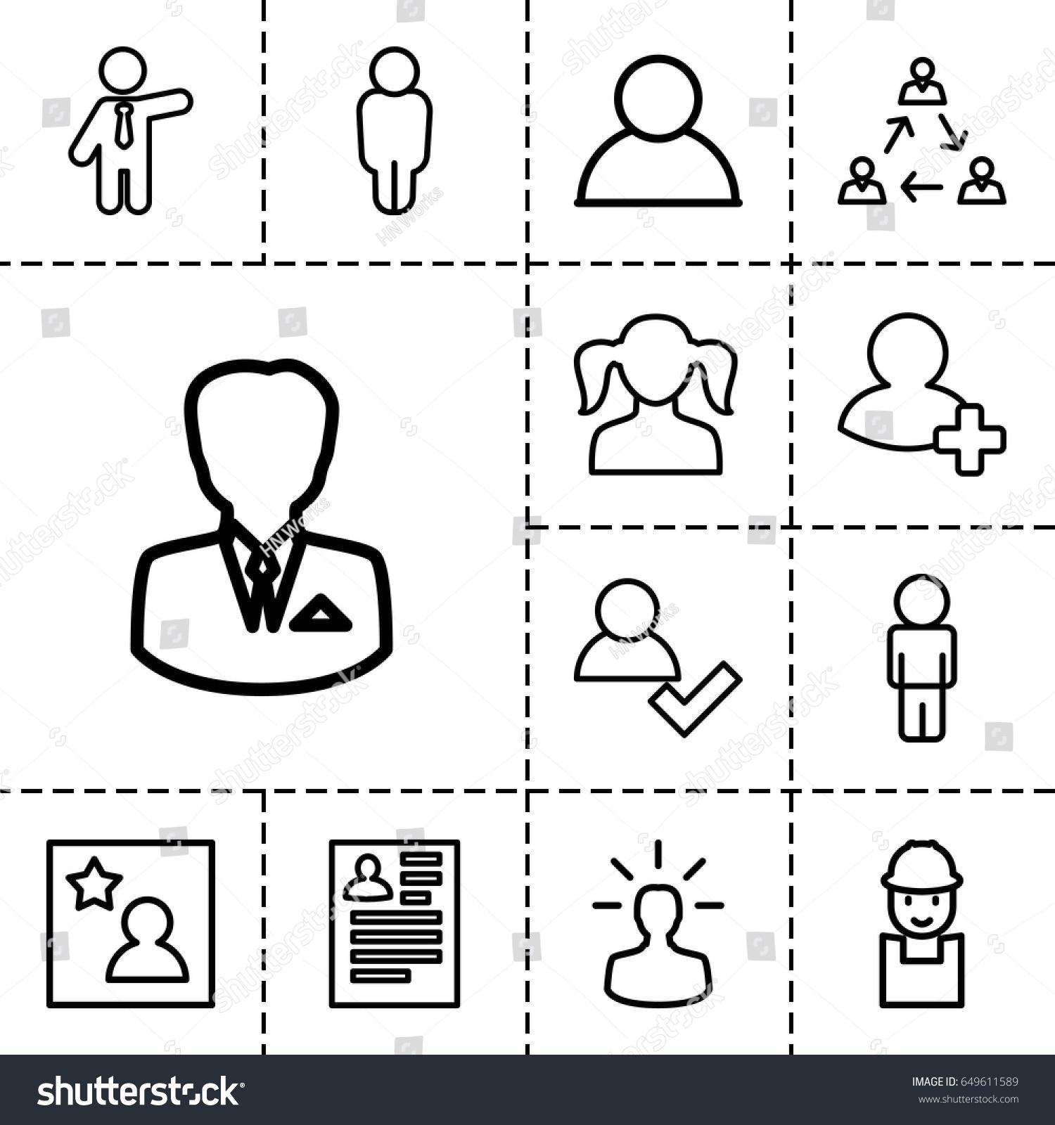 profile icon set 13 outline profile stock vector 649611589