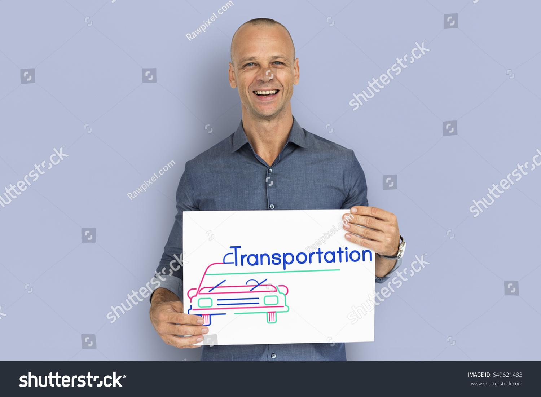 Man Holding Banner Automotive Car Rental Stock Photo Edit Now 649621483