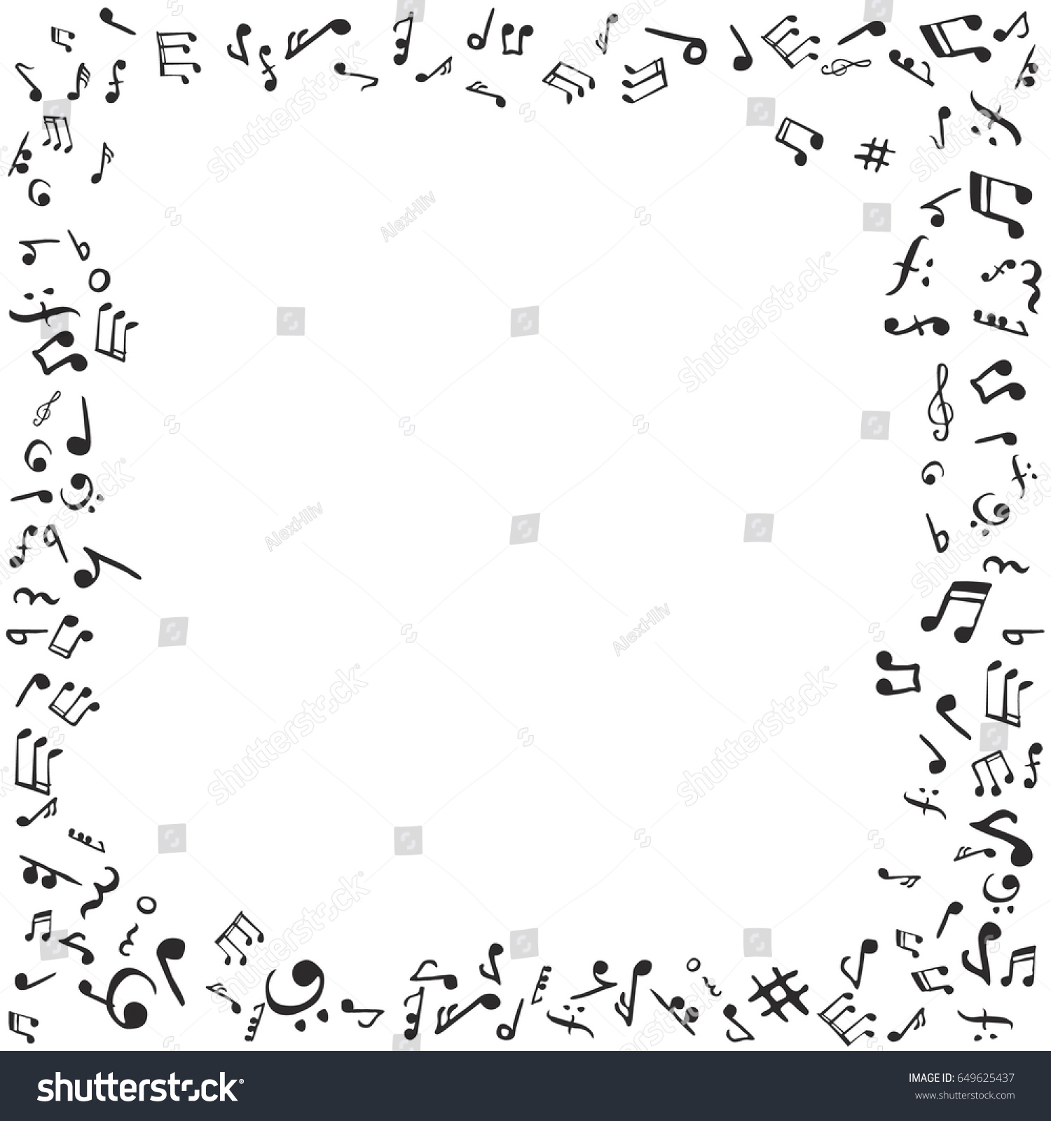 Music Notes Frame Flat Vector Stock Stock Vector 649625437 ...