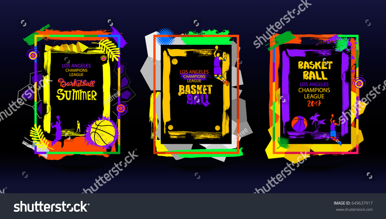 Set Basketball Banners Frames Posters Grunge Stock Vector 649637917 ...