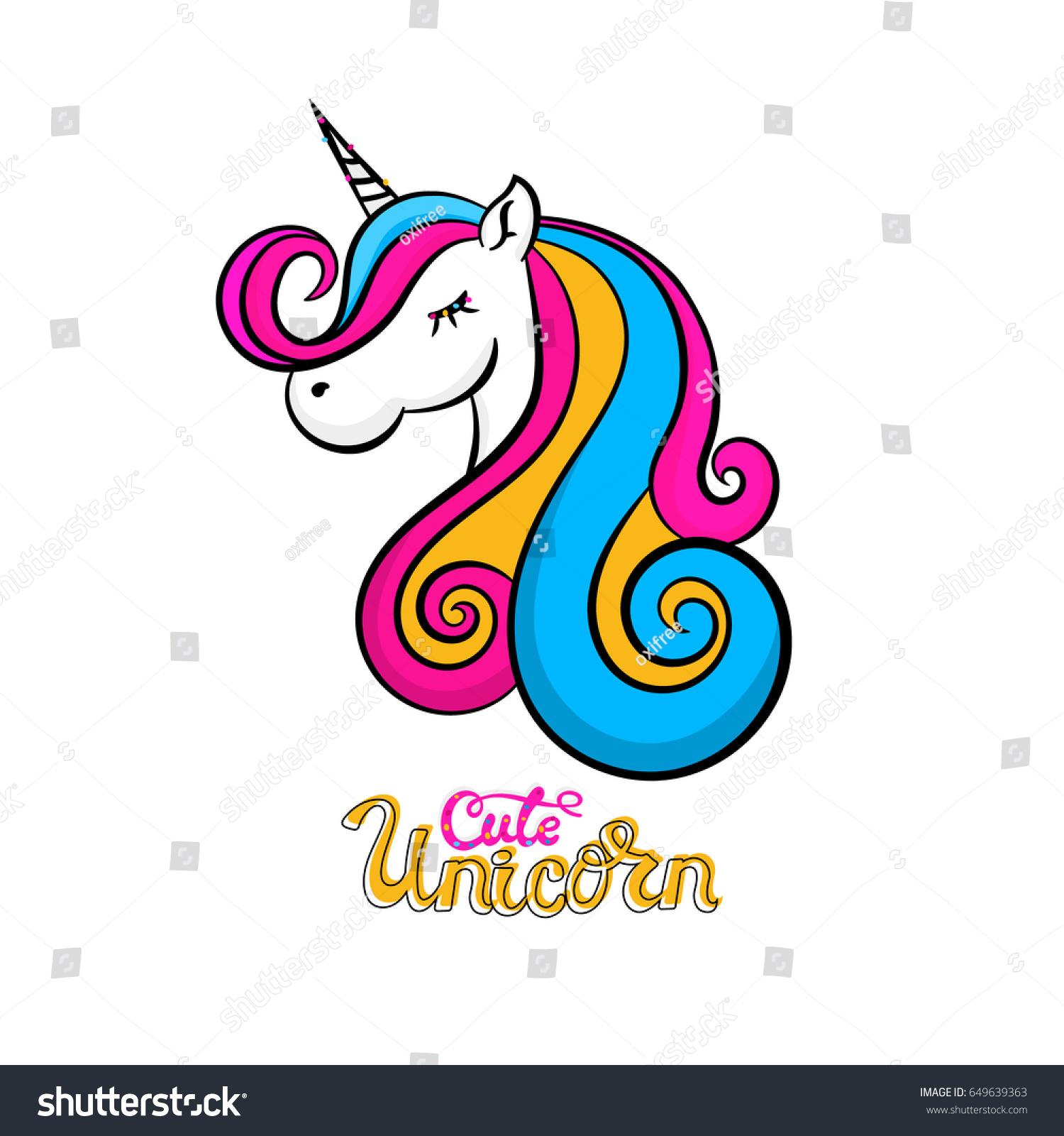 Vector Cute Unicorn Icon Isolated Cartoon Stock Vector ...