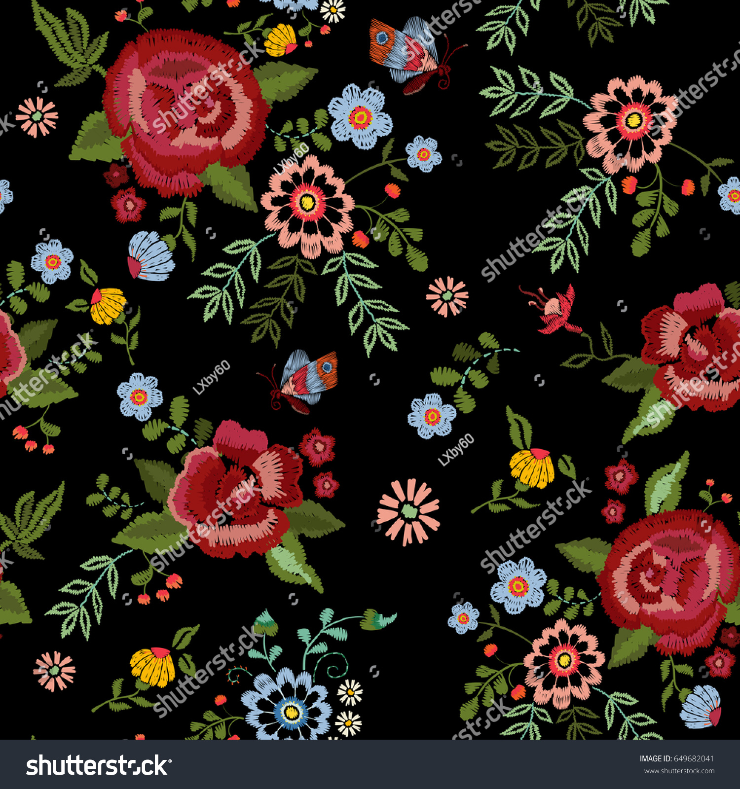 embroidery ethnic seamless pattern roses fantasy stock vector