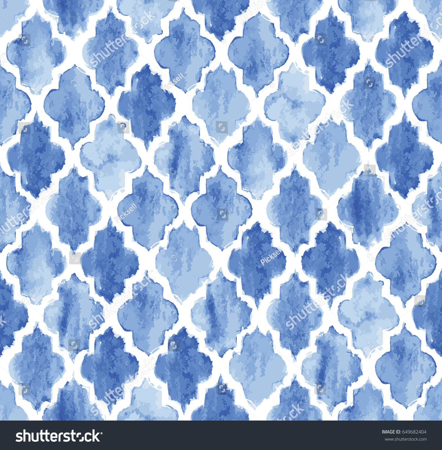 Seamless Blue Watercolor Moroccan Pattern Background Stock
