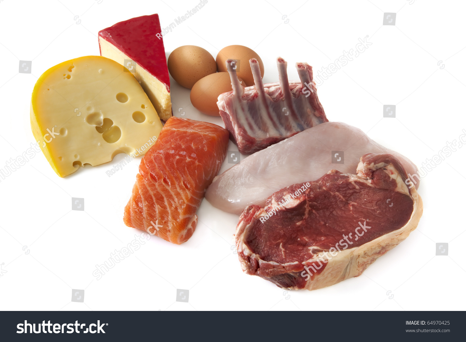 Sources Protein Including Cheese Eggs Fish Stock Photo 64970425 ...