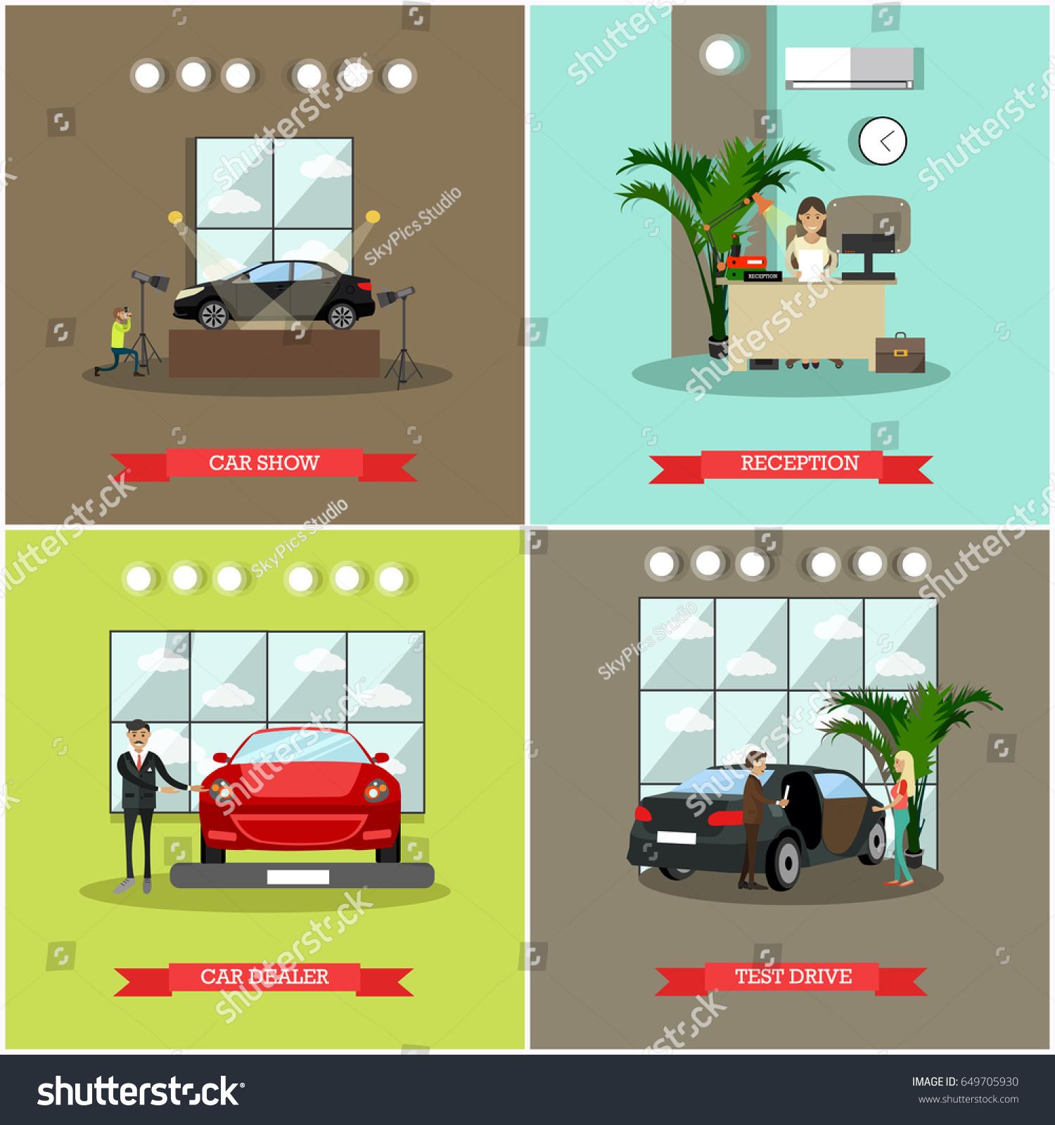 Vector Set Car Shop Posters Car Stock Vector 649705930 Shutterstock
