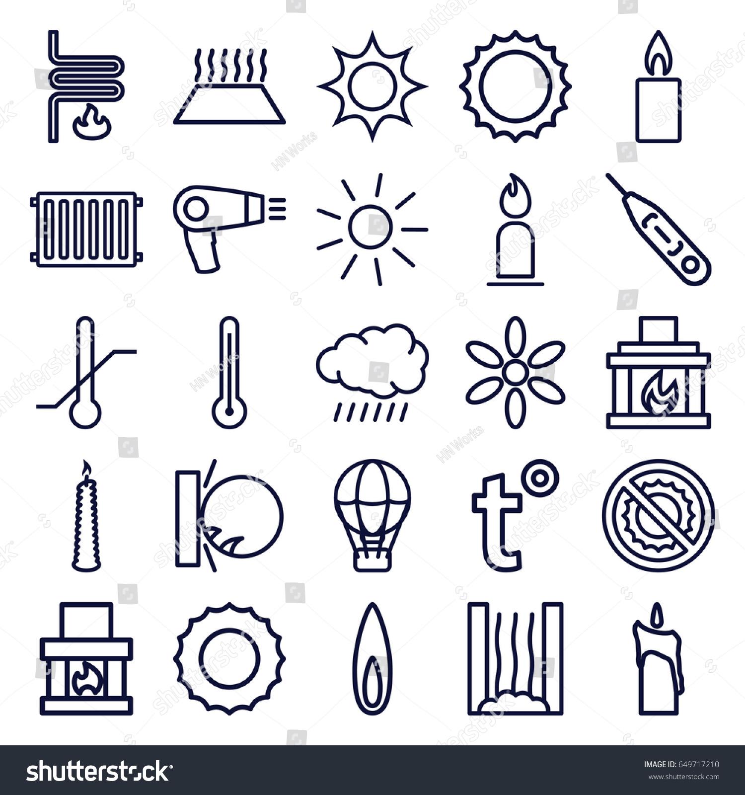Heat icons set set 25 heat stock vector 649717210 shutterstock heat icons set set of 25 heat outline icons such as sun hair dryer biocorpaavc Choice Image