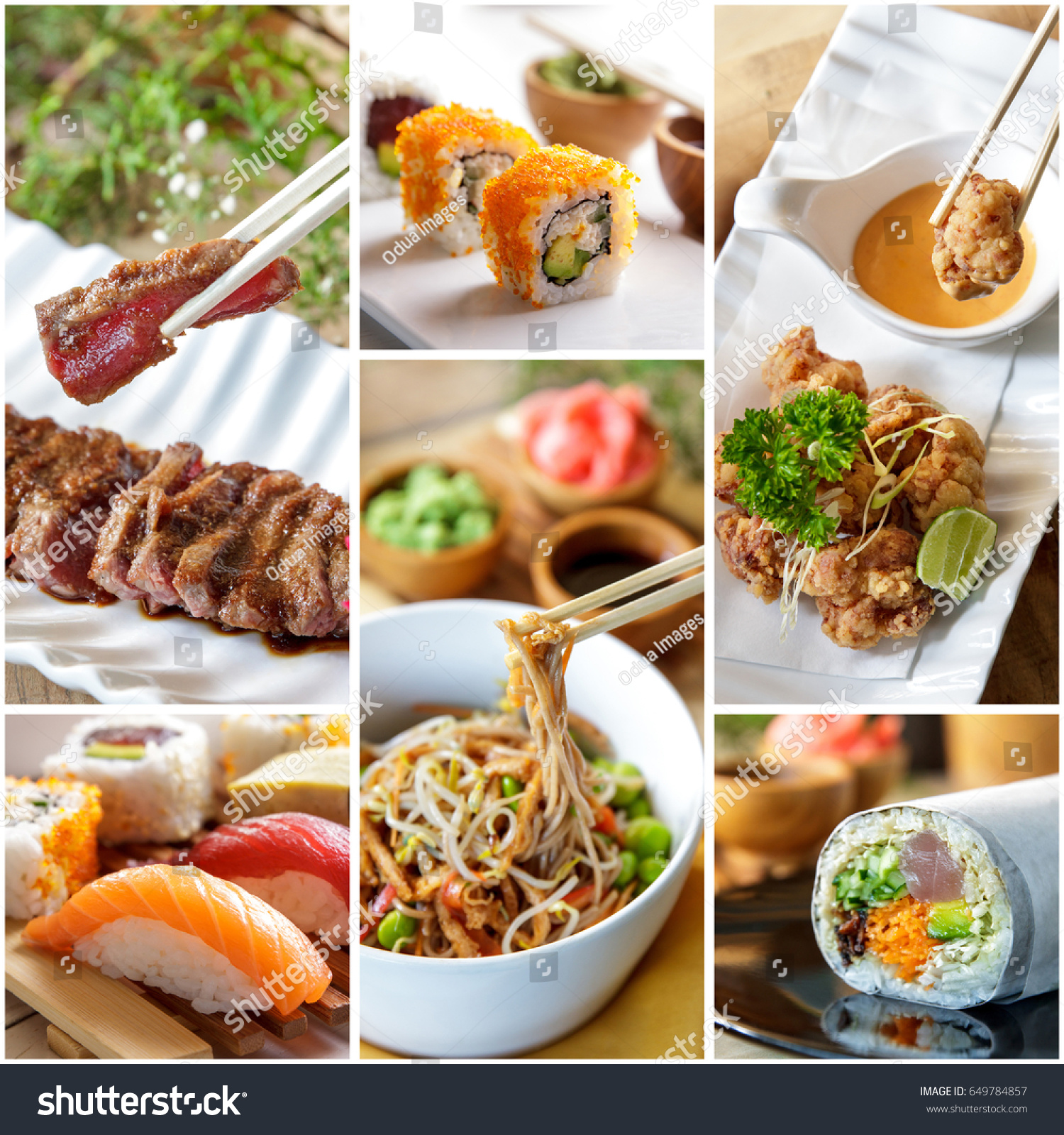 Collage Japanese Food Various Sushi On Editar Agora Foto Stock 649784857