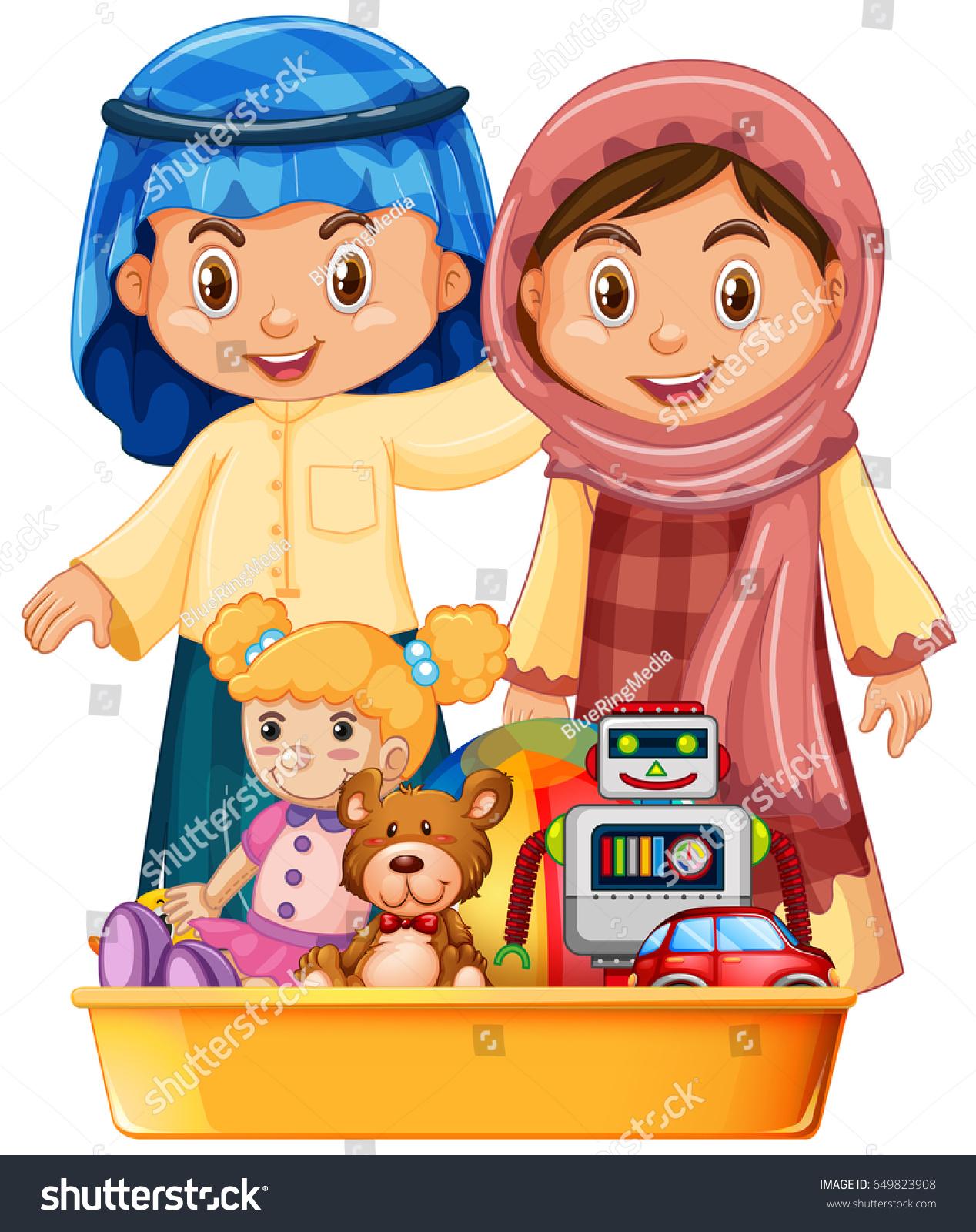 Muslim Kids Toys Tray Illustration Stock Vector