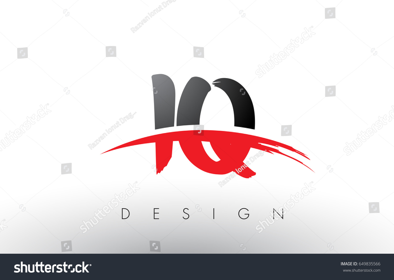 IQ I Q Brush Logo Letters Design with Red and Black Colors and Brush Letter  Concept.