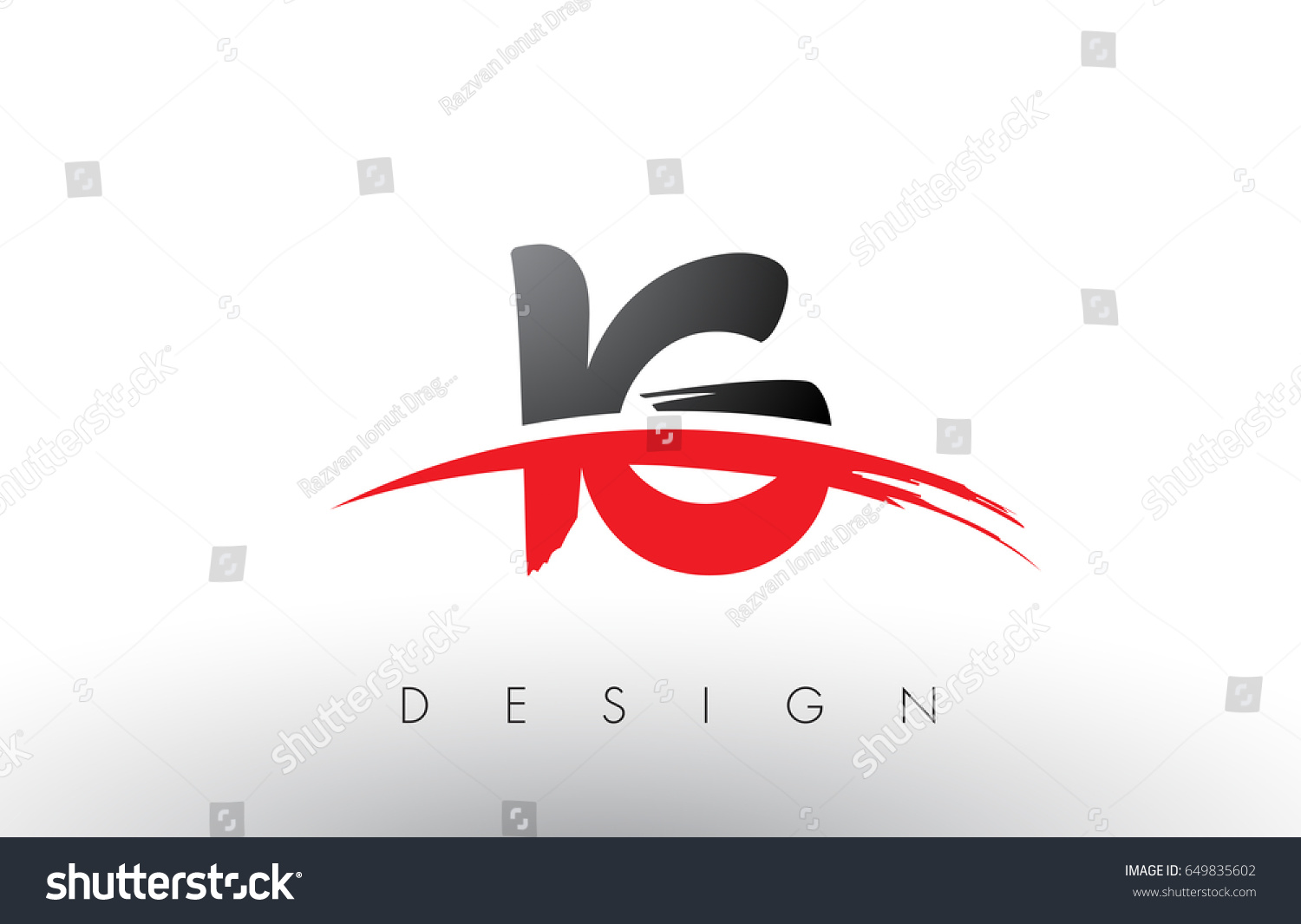 IG I Q Brush Logo Letters Design with Red and Black Colors and Brush Letter  Concept.