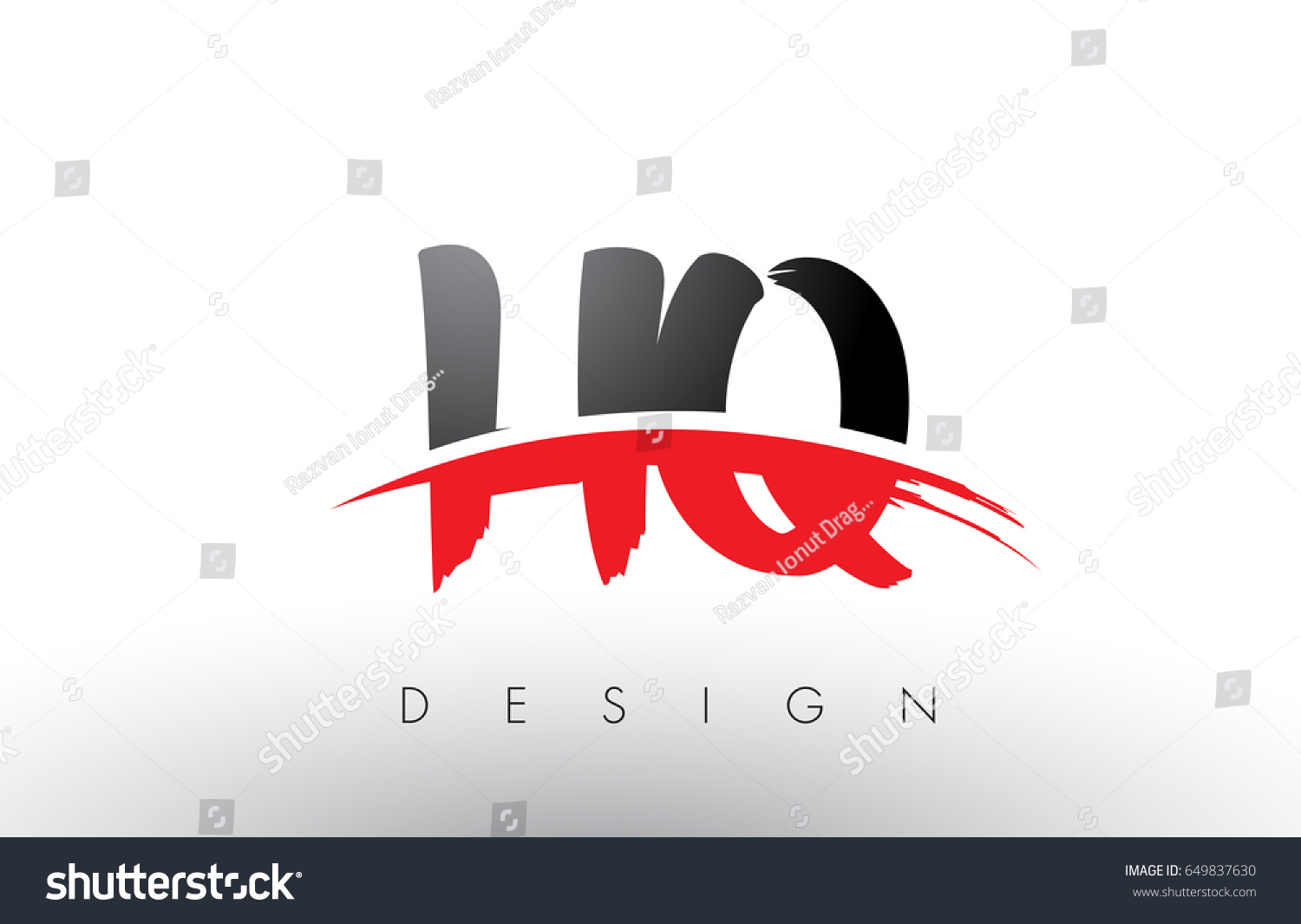 HQ H Q Brush Logo Letters Design with Red and Black Colors and Brush Letter  Concept.