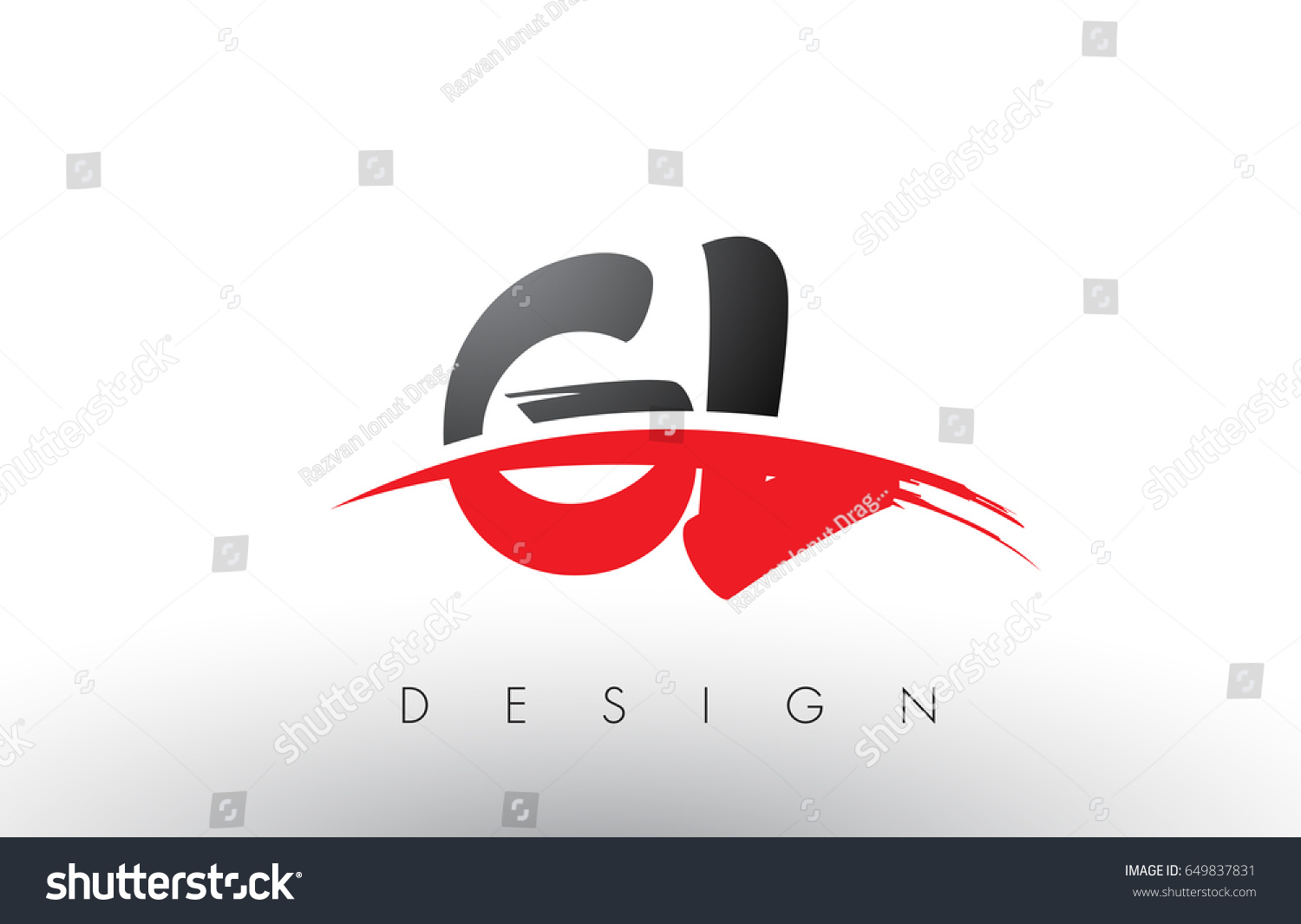 Gl G L Brush Logo Letters Stock Vector Royalty Free 649837831