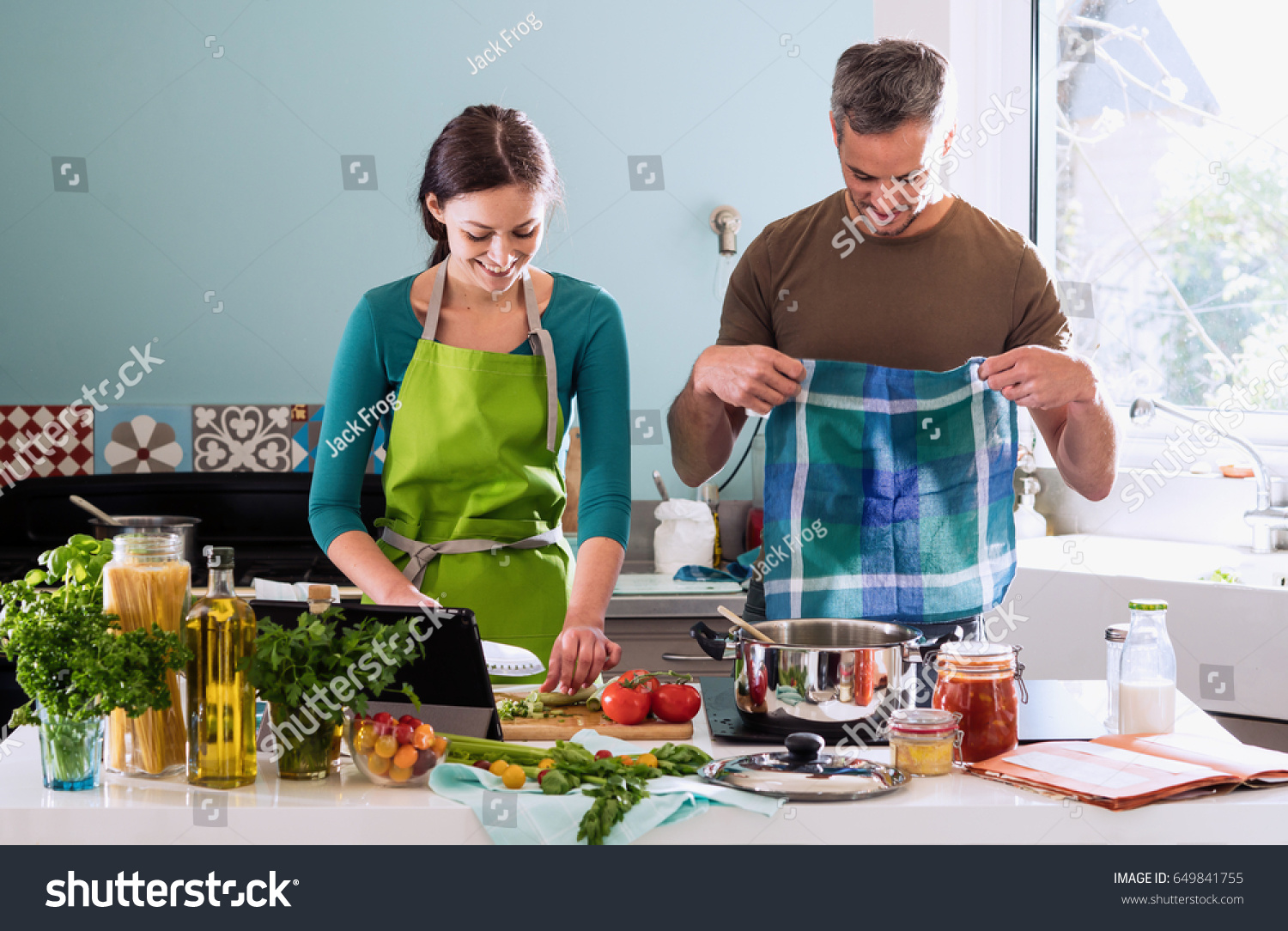 Cheerful Couple Cooking Bolognese Sauce Spaghetti Stock Photo ...